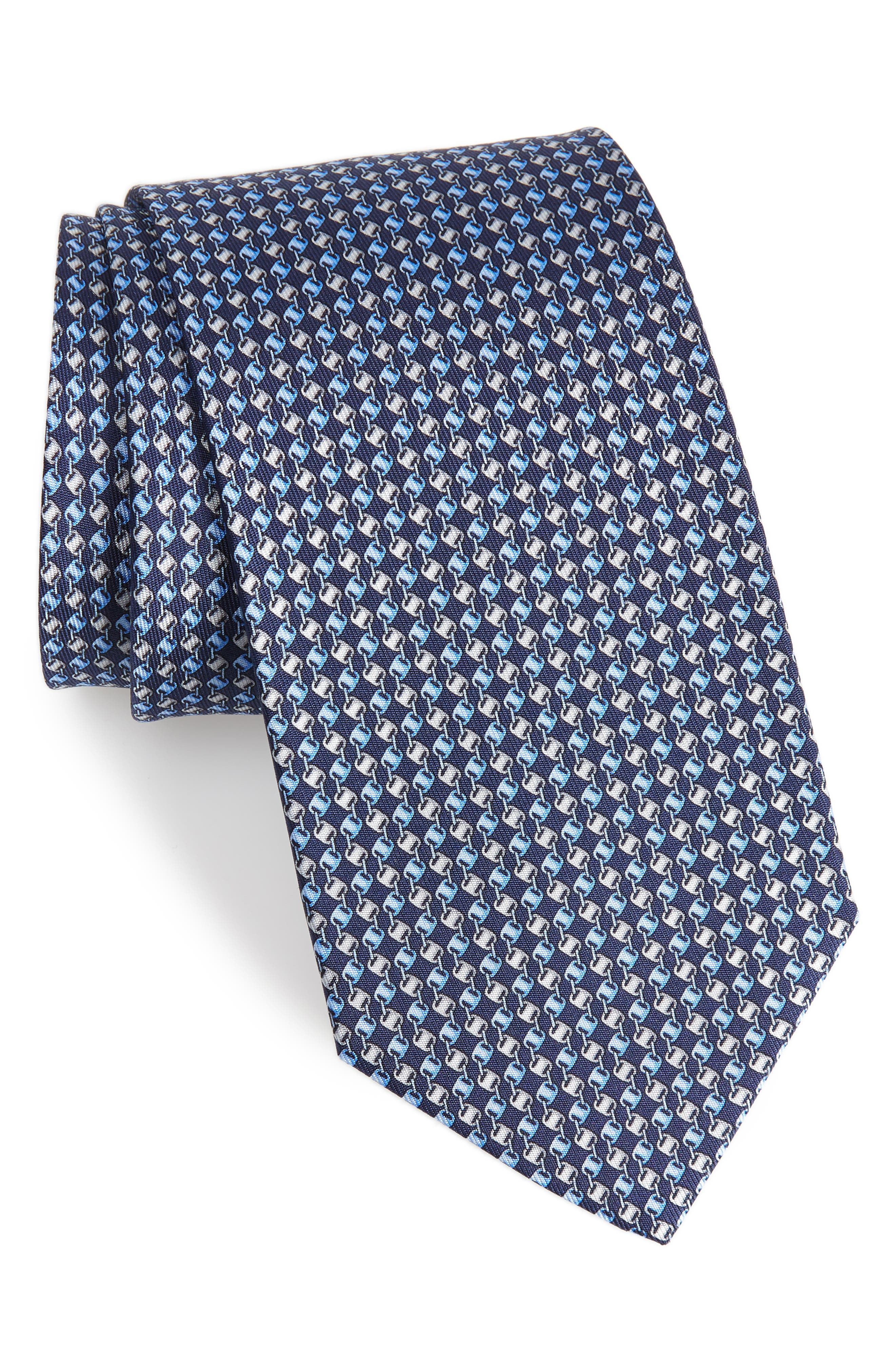 Oara Print Silk Tie,                             Main thumbnail 1, color,                             Navy