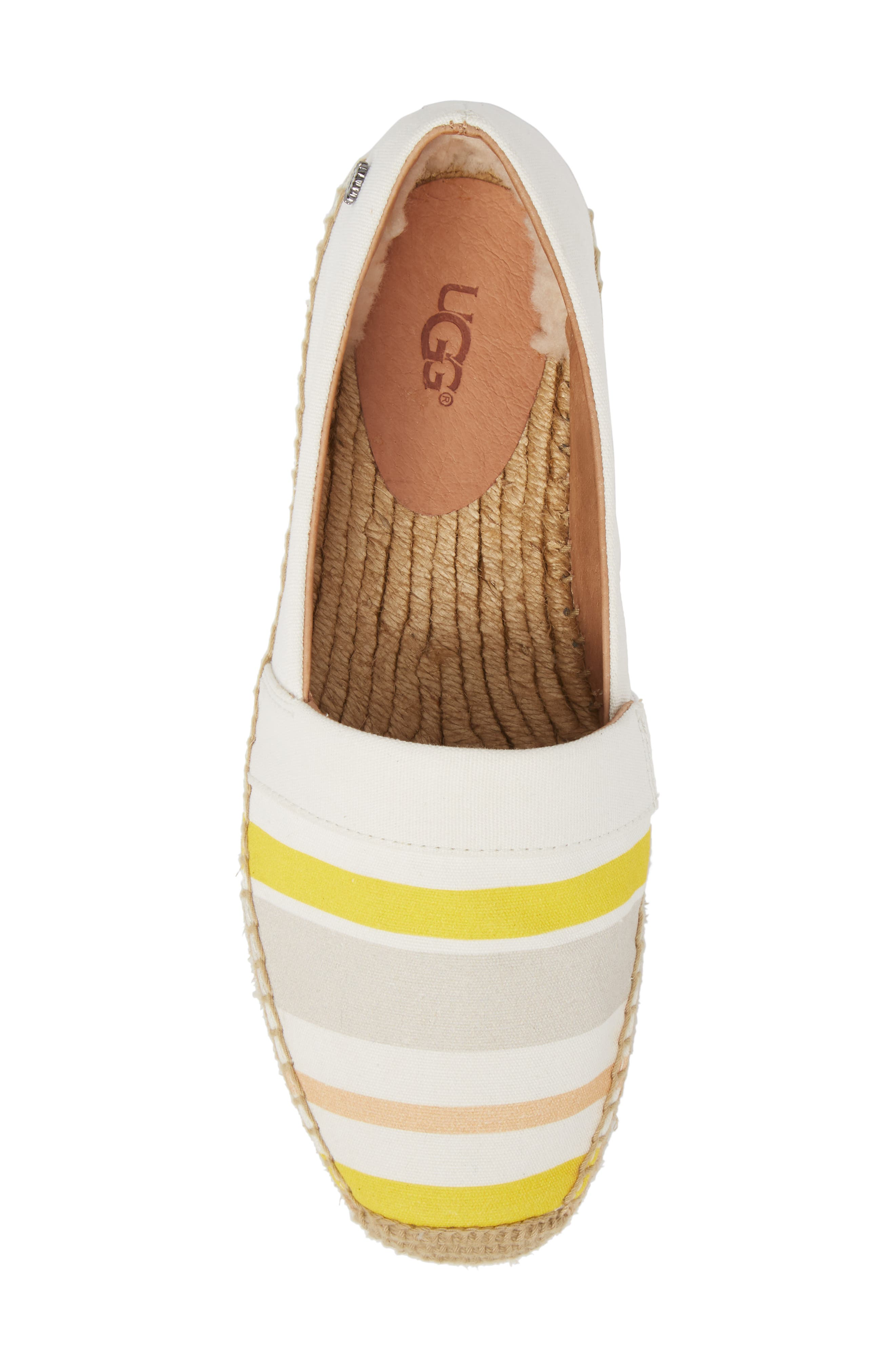 Reneda Stripe Espadrille Flat,                             Alternate thumbnail 5, color,                             White