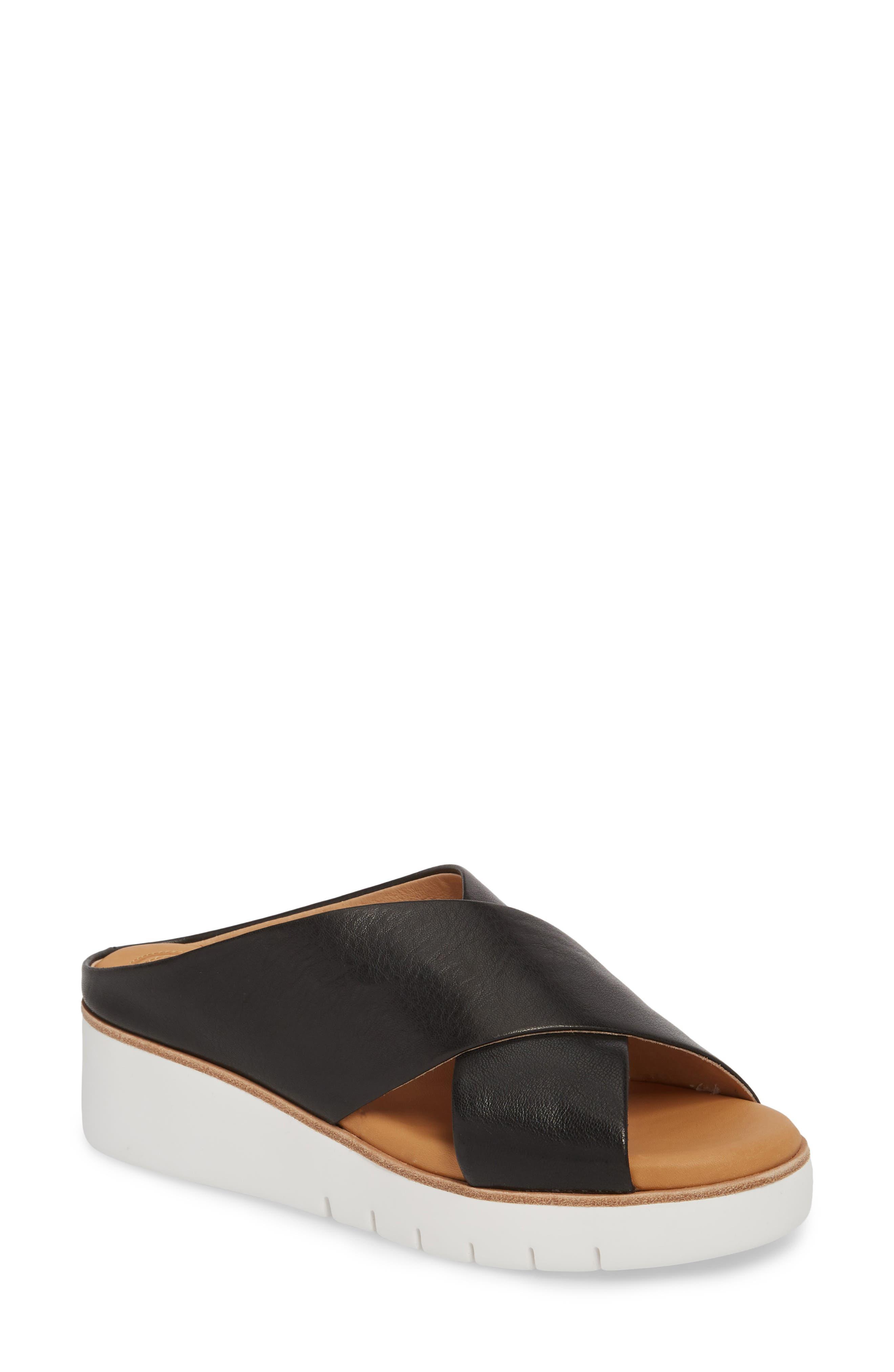 Brunna Sandal,                             Main thumbnail 1, color,                             Black Leather