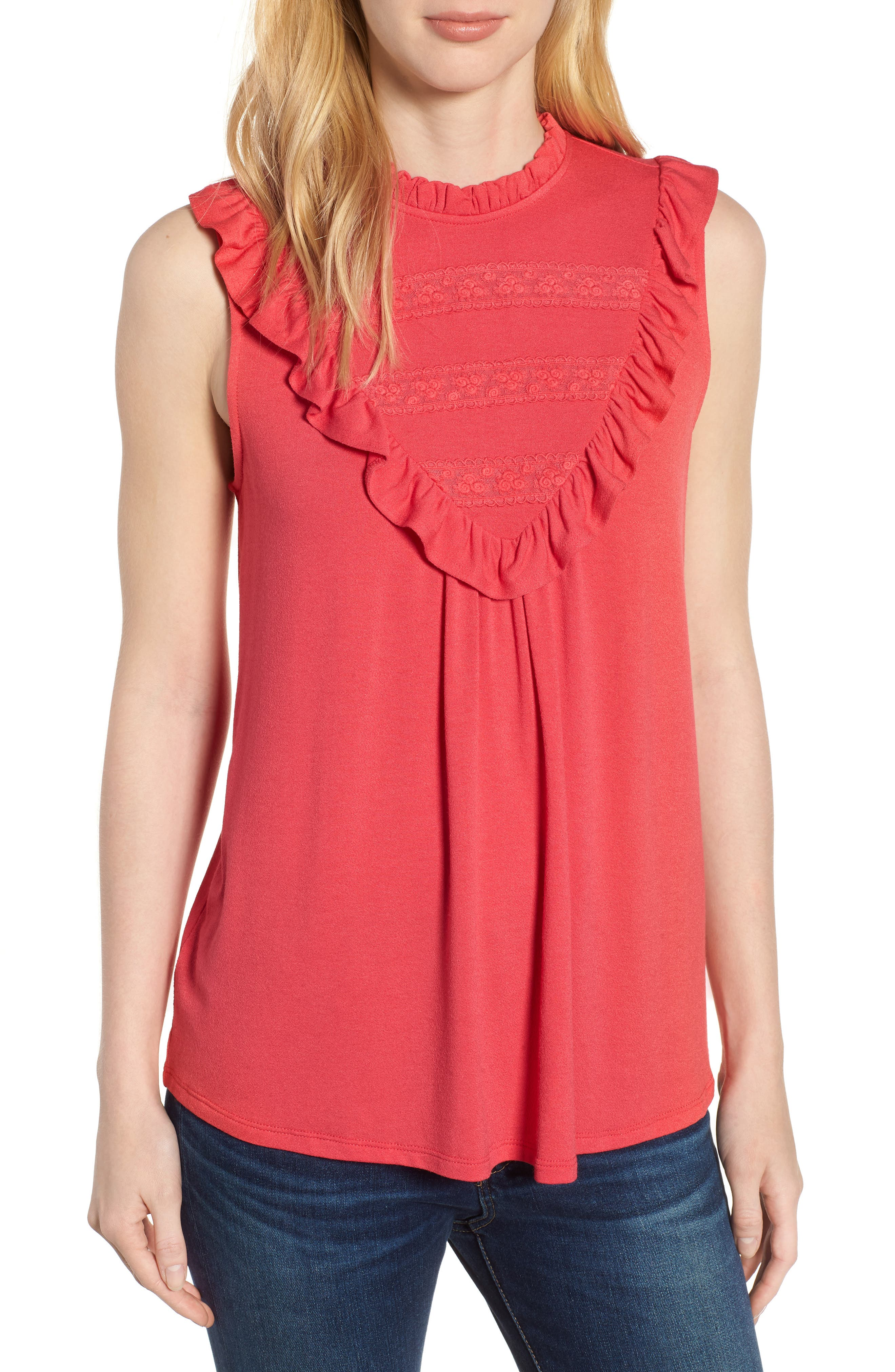 Lace Inset Tank Top,                         Main,                         color, Deep Coral