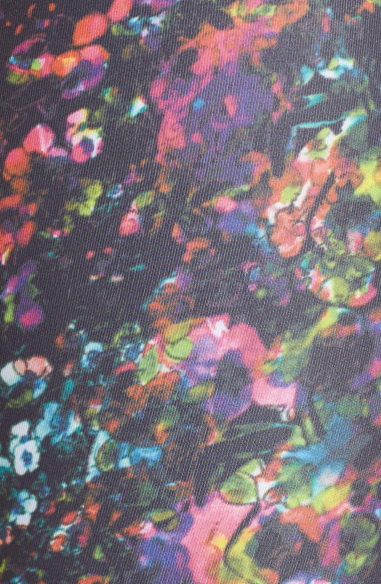 Dawn Print Sports Bra,                             Alternate thumbnail 6, color,                             Black Kaleido Floral Print