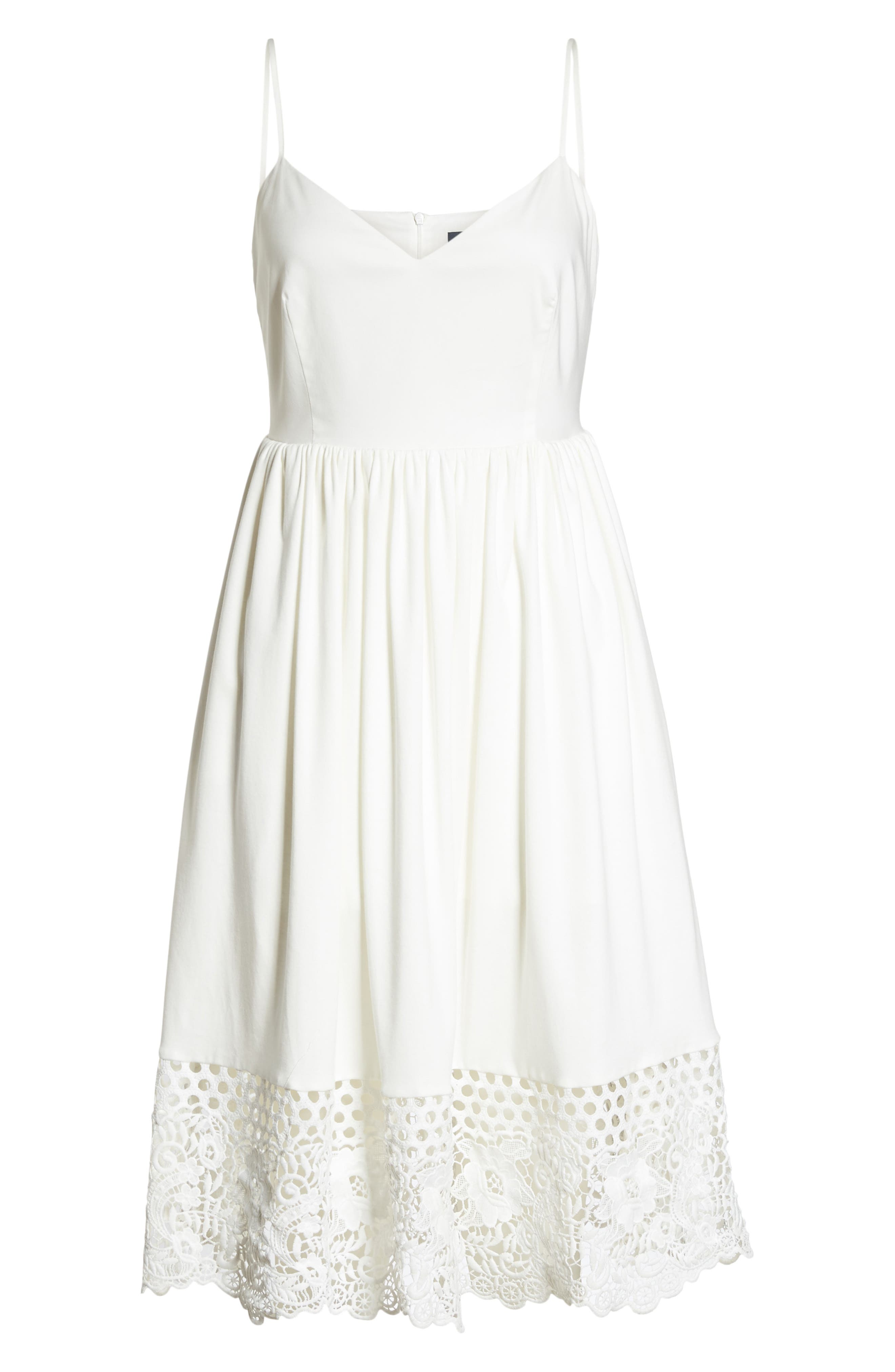 Salerno Lace Trim Jersey Dress,                             Alternate thumbnail 7, color,                             Summer White/ Summer White