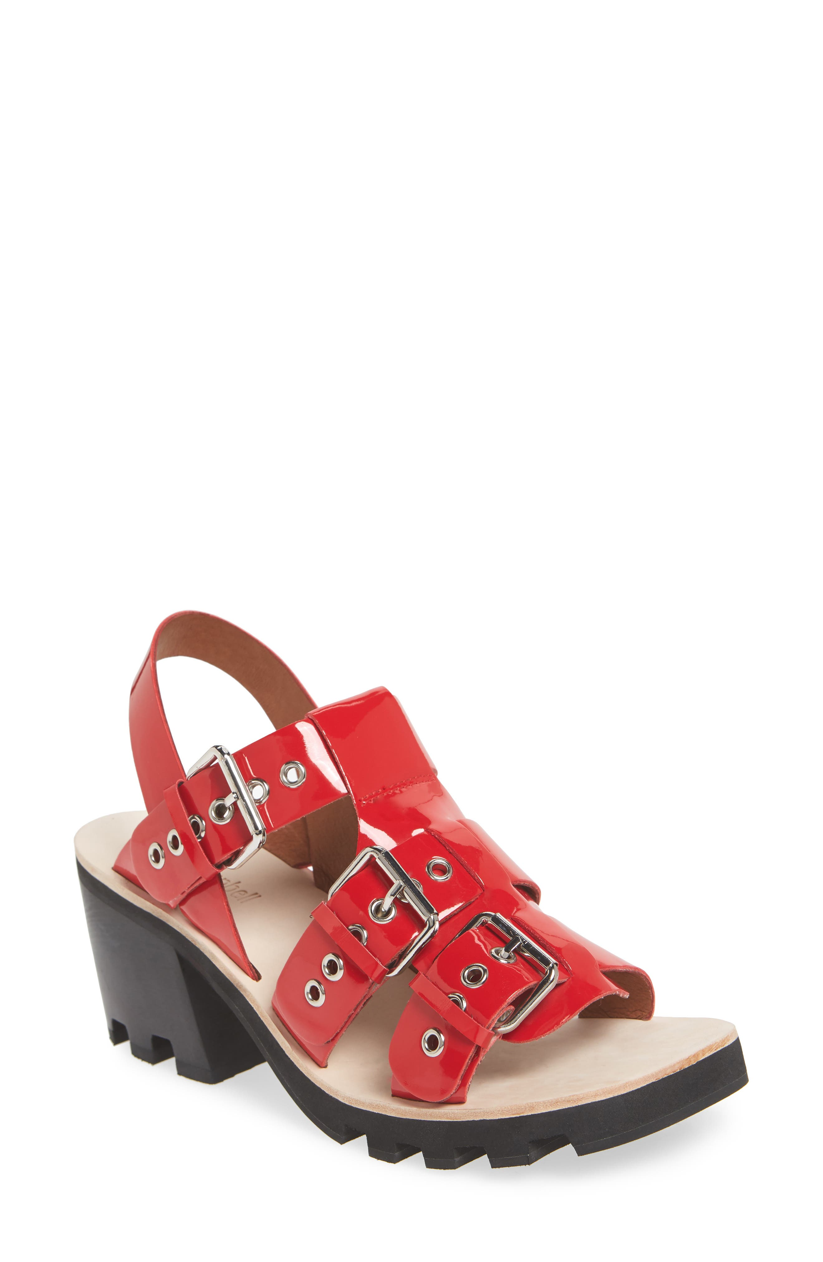 Riveter Lugged Buckle Sandal,                         Main,                         color, Red Patent