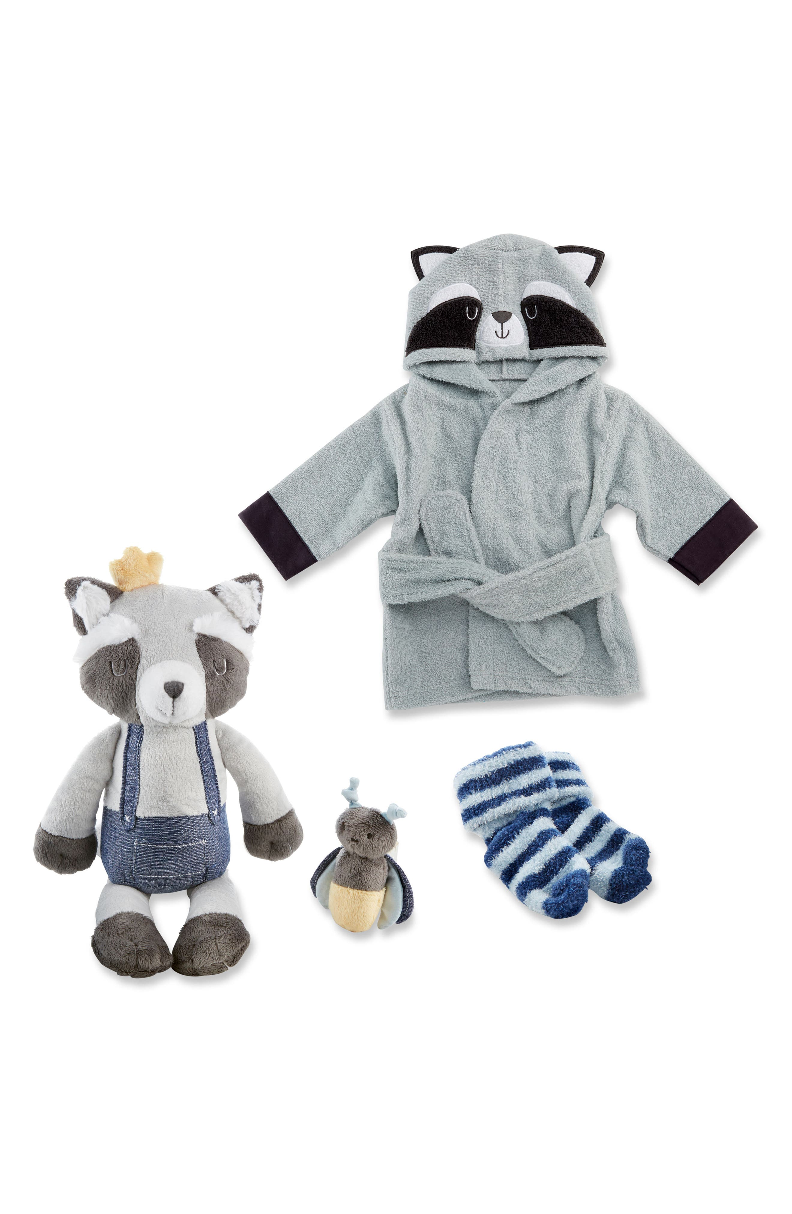Forest Friends Raccoon Plush Robe, Fuzzy Socks, Stuffed Animal & Rattle Set,                             Main thumbnail 1, color,                             Grey/ Blue/ White