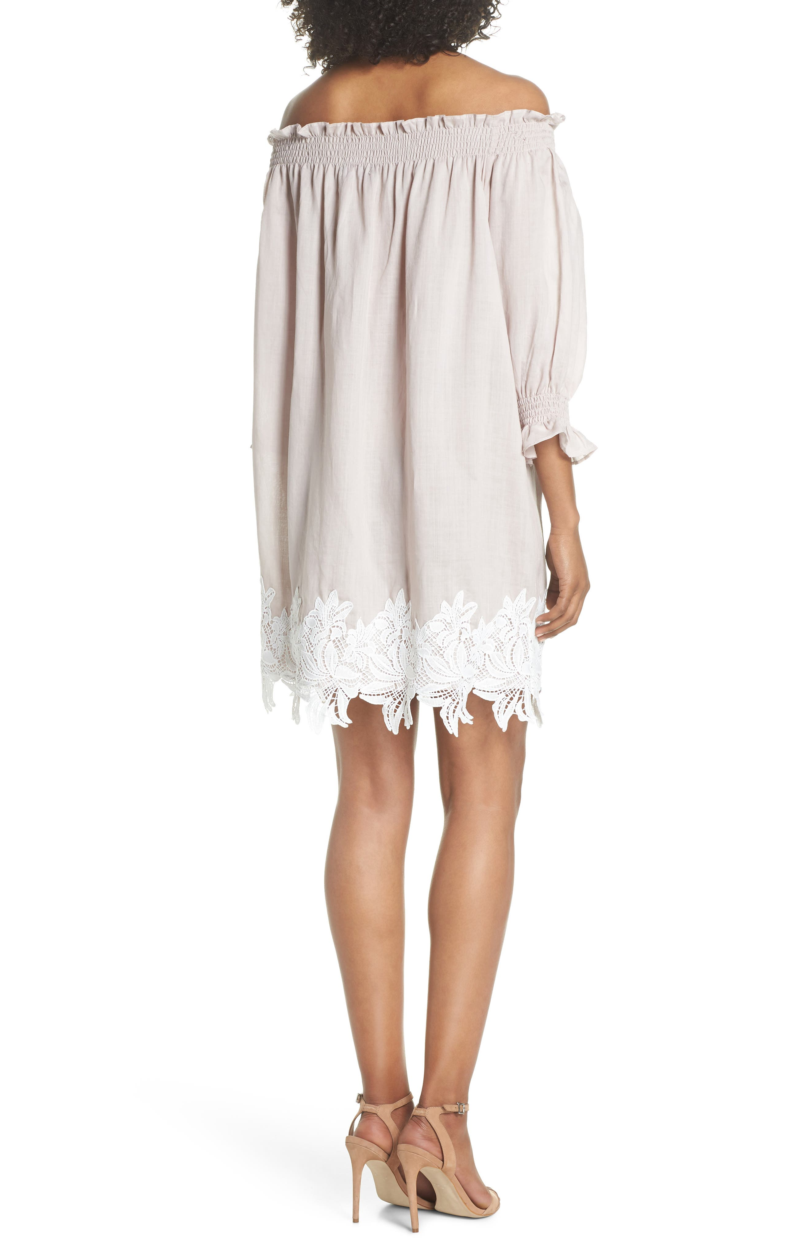 Hudson Off the Shoulder Lace Hem Linen Dress,                             Alternate thumbnail 2, color,                             Pink