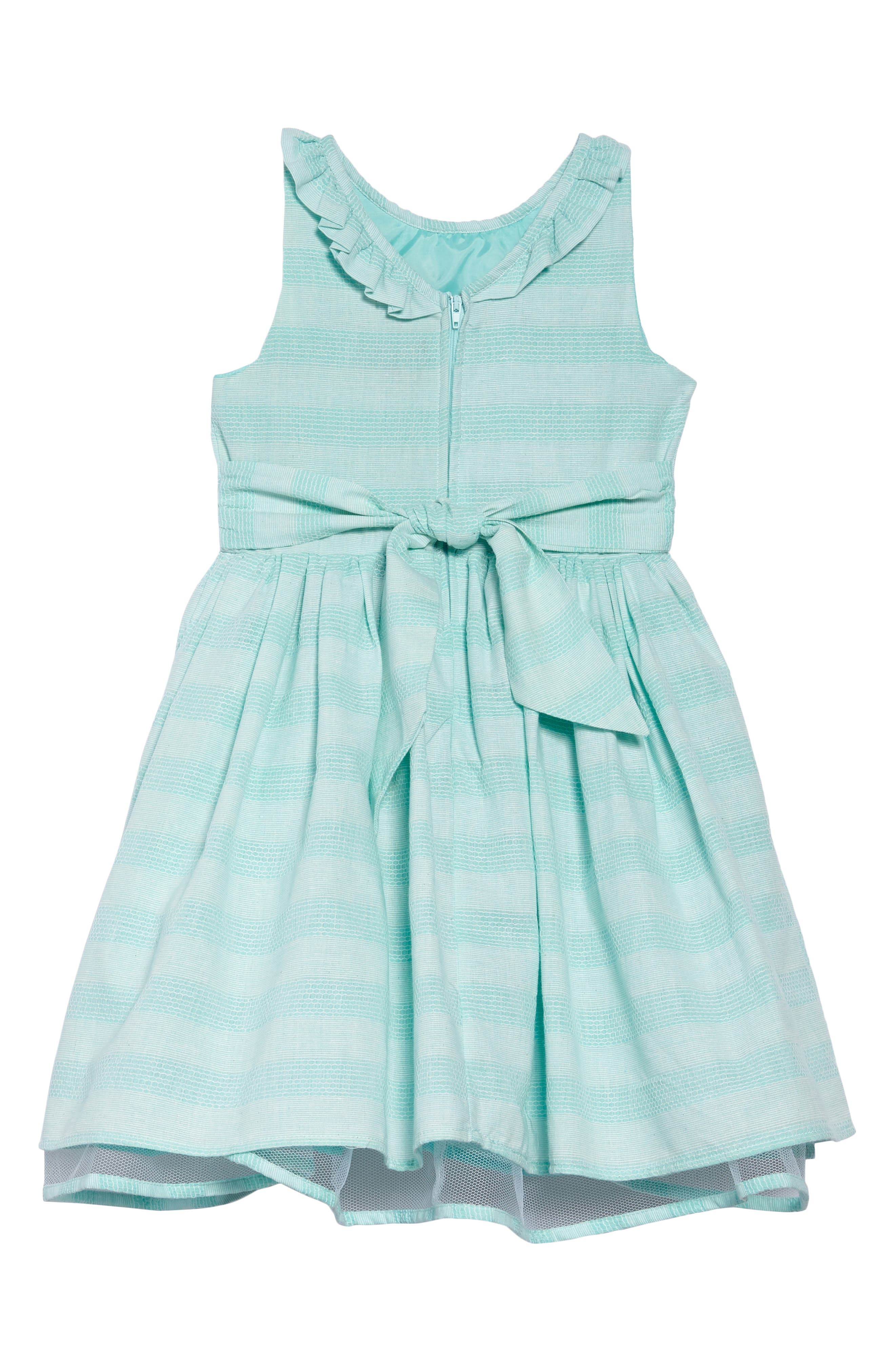 Shadow Stripe Party Dress,                             Alternate thumbnail 2, color,                             Turquoise