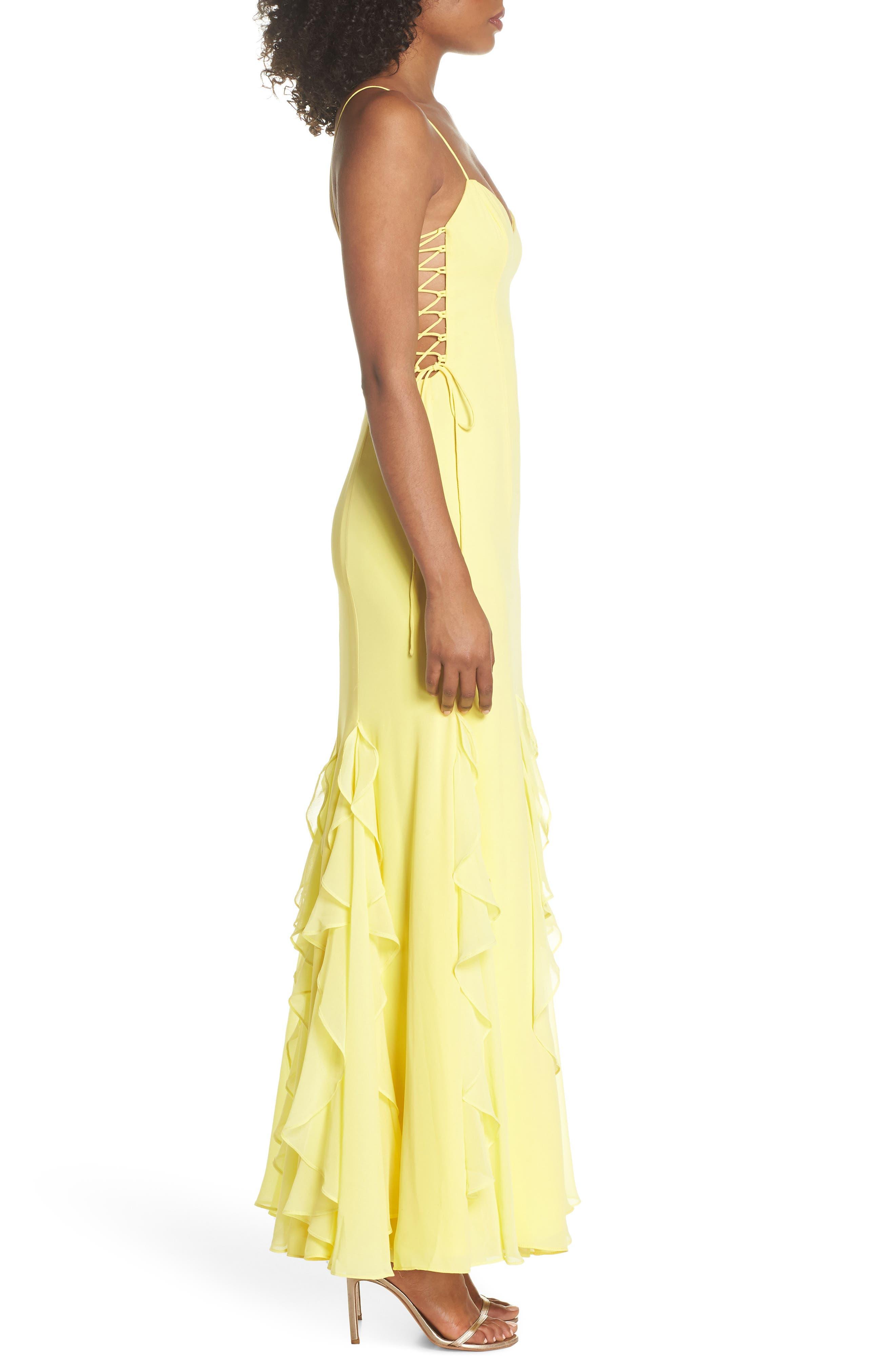 Lara Lace-Up Georgette Gown,                             Alternate thumbnail 3, color,                             Lemon