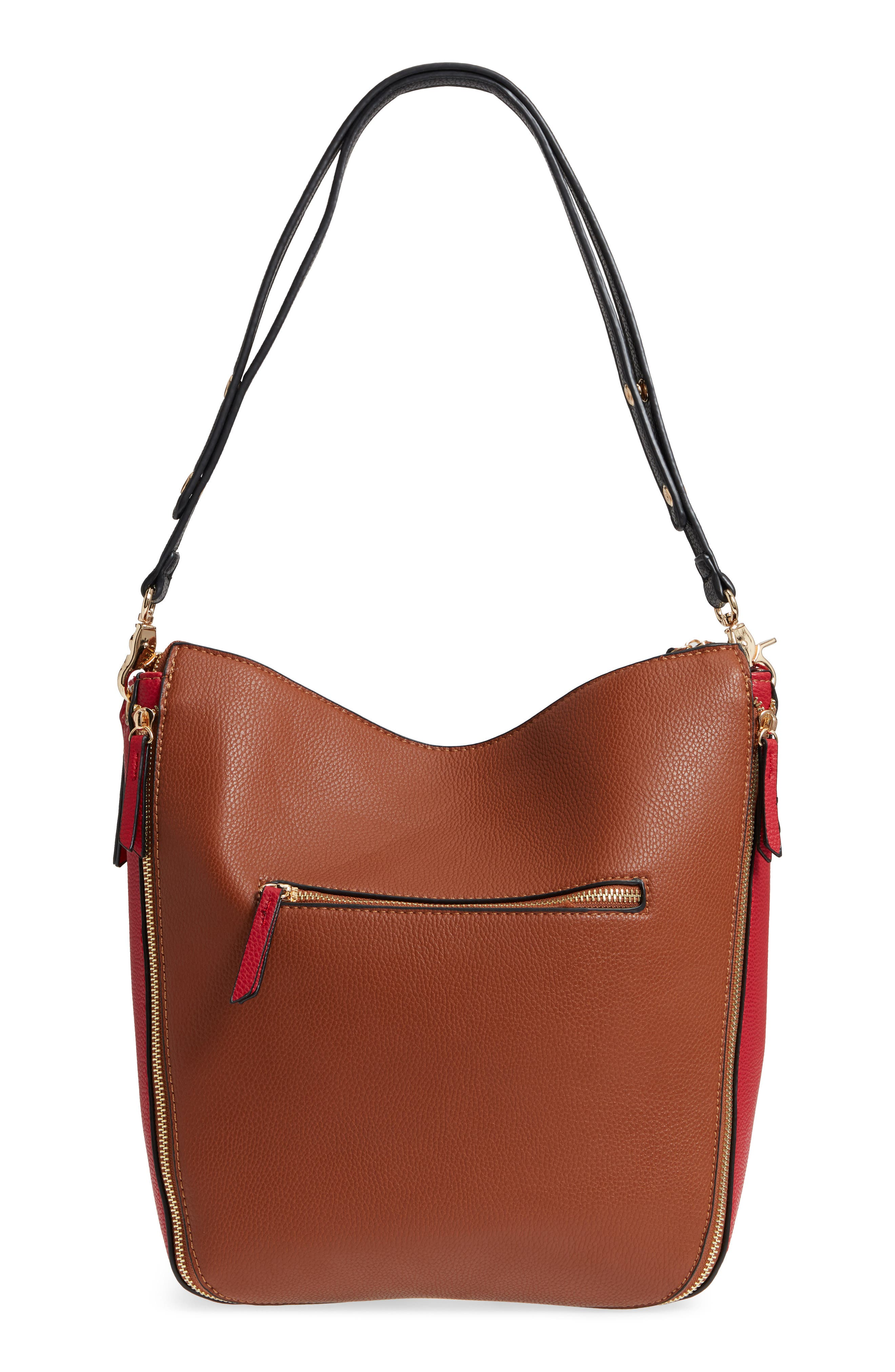 Colorblock Faux Leather Hobo,                             Alternate thumbnail 4, color,                             Cognac/ Red