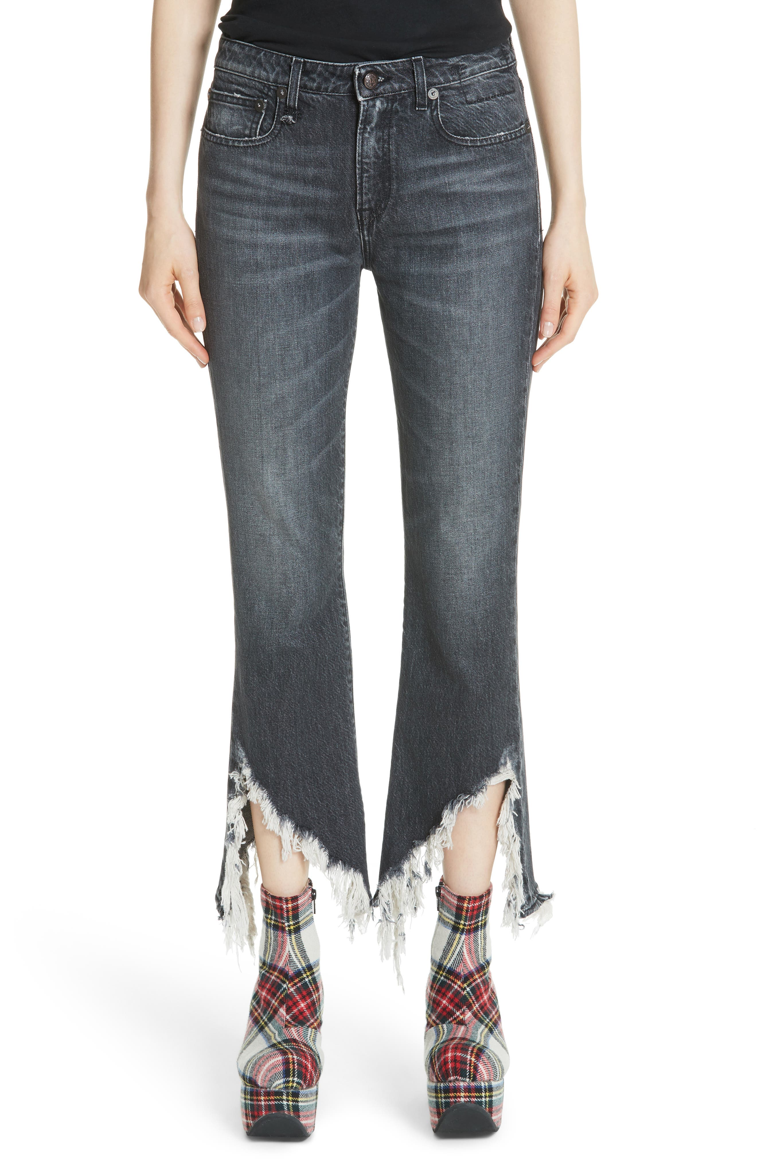 FRAYED KICK FIT JEANS