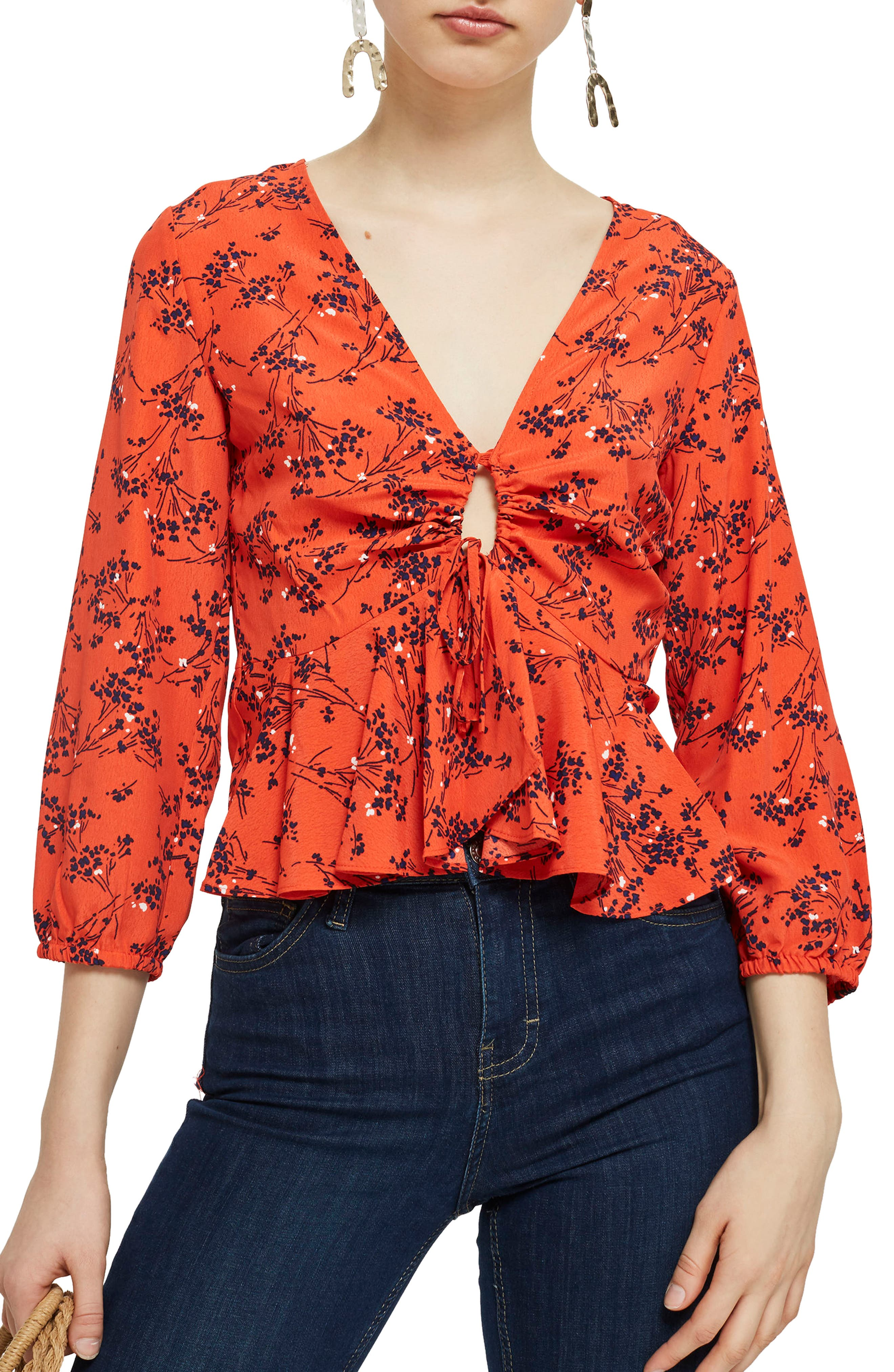 Betty Floral Print Keyhole Blouse,                             Main thumbnail 1, color,                             Red Multi