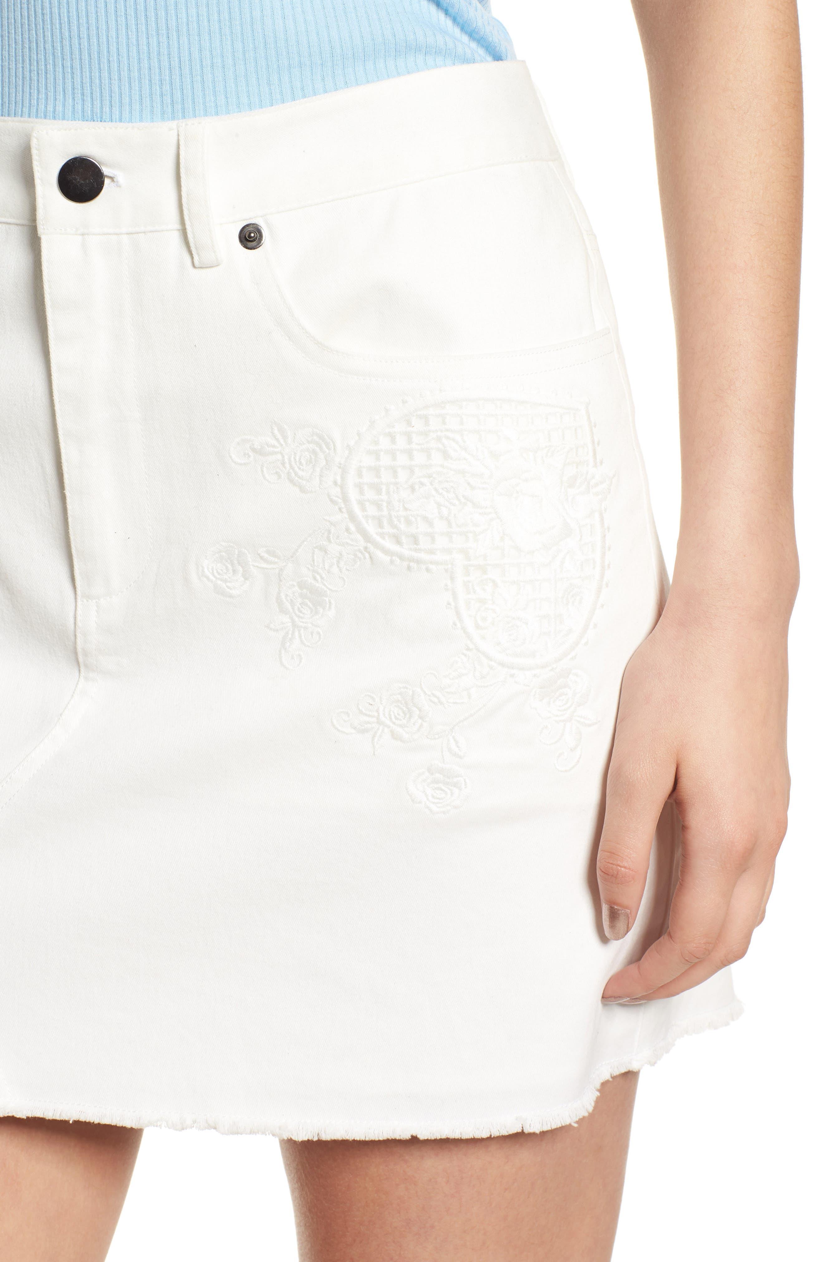 Eva Embroidered Denim Miniskirt,                             Alternate thumbnail 4, color,                             White