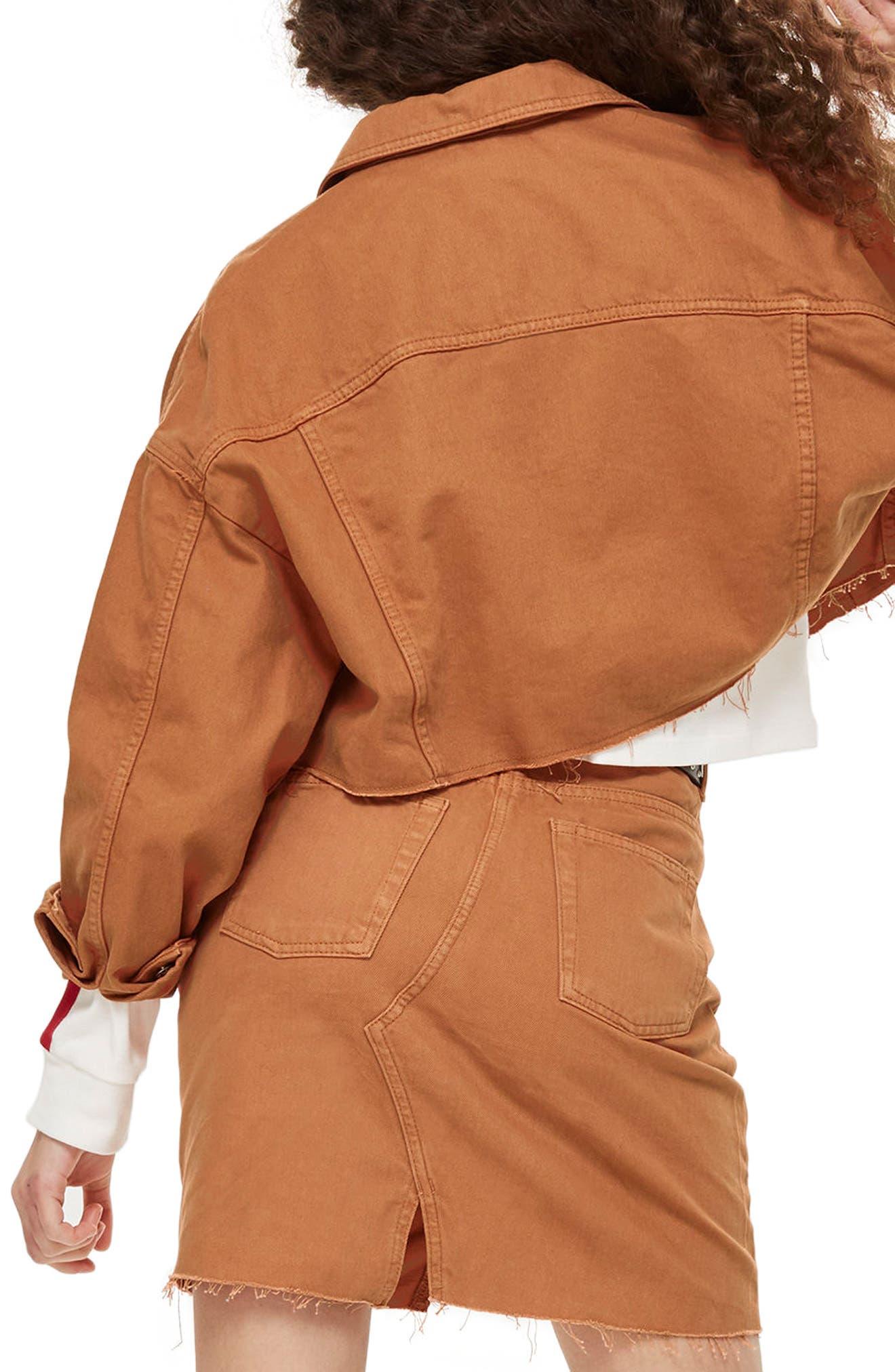 Raw Edge Crop Denim Jacket,                             Alternate thumbnail 2, color,                             Rust