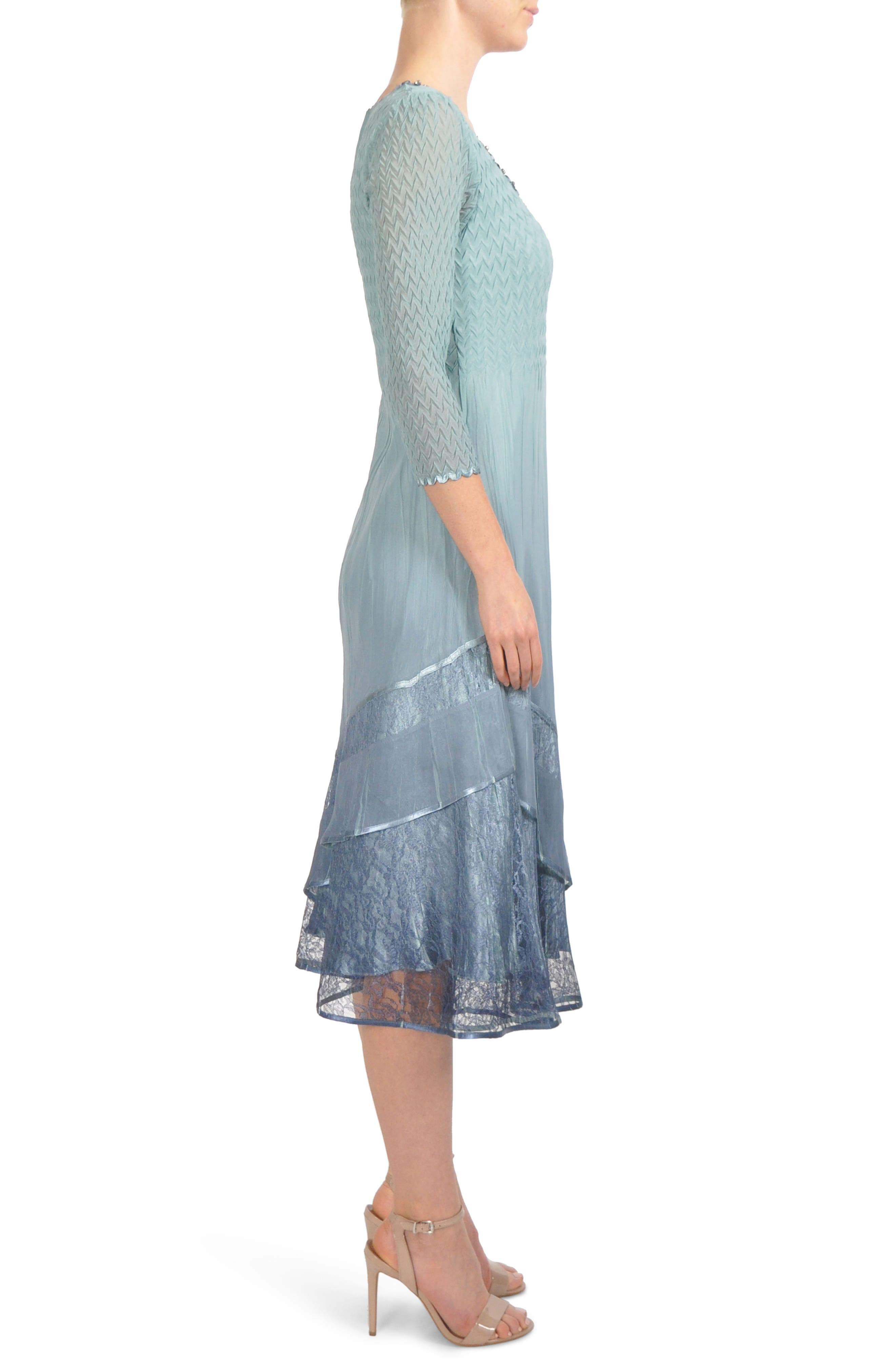 Beaded Neck Tier Hem Dress,                             Alternate thumbnail 3, color,                             Ocean Blue Night Ombre