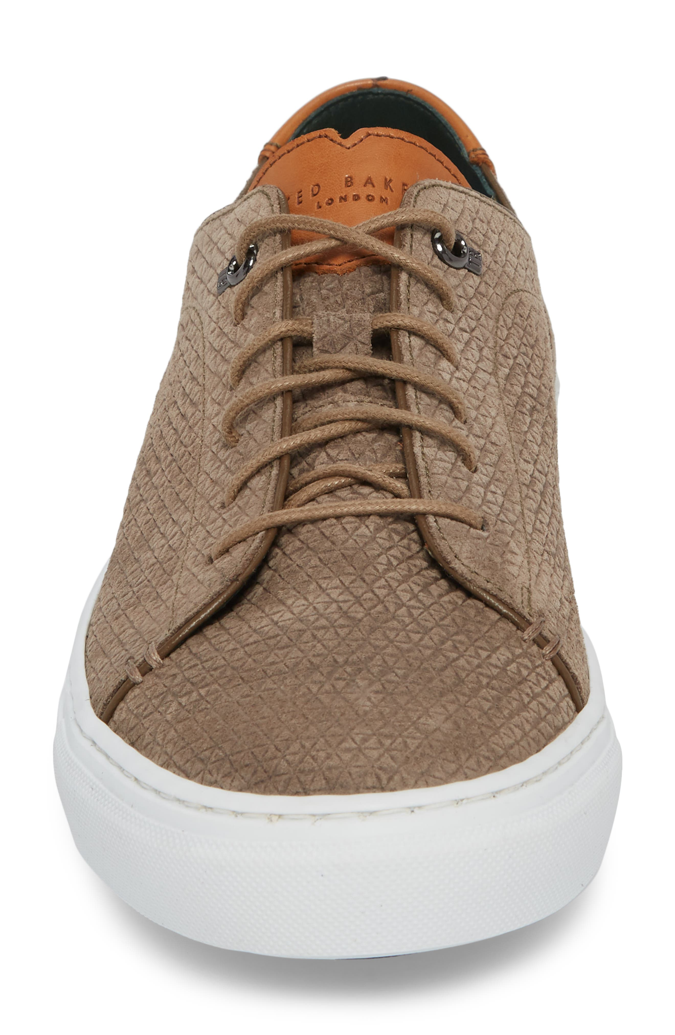 Duukes Embossed Low Top Sneaker,                             Alternate thumbnail 4, color,                             Grey Embossed Suede