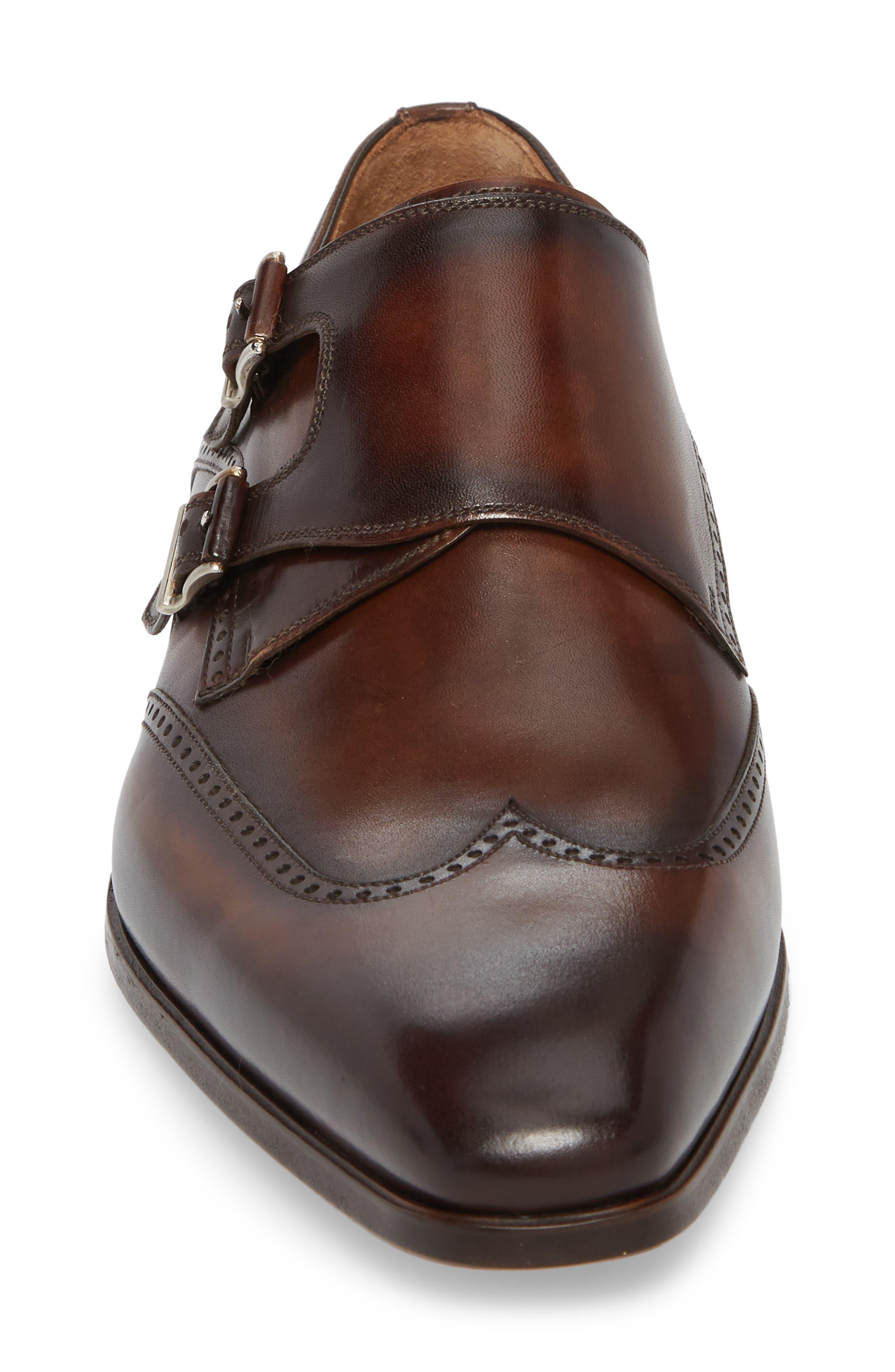 Dixon Wingtip Double Strap Monk Shoe,                             Alternate thumbnail 4, color,                             Tobacco Leather
