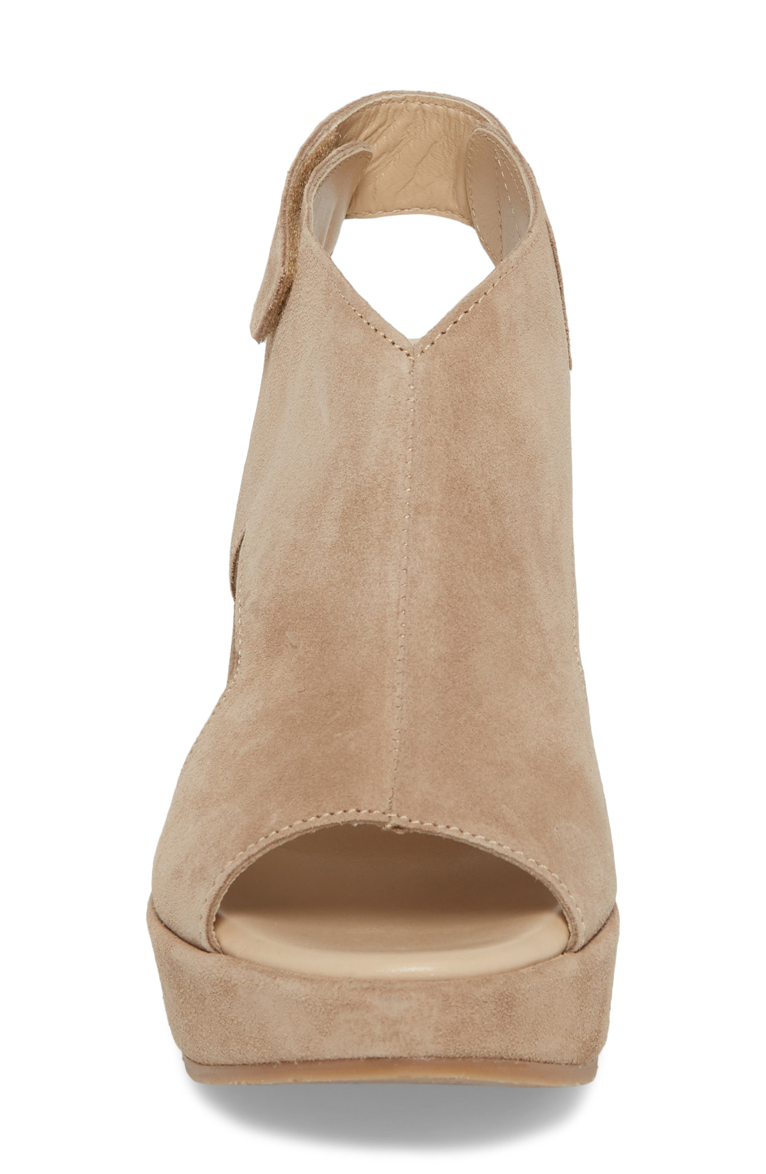 Reed Wedge Sandal,                             Alternate thumbnail 4, color,                             Corda Taupe Suede