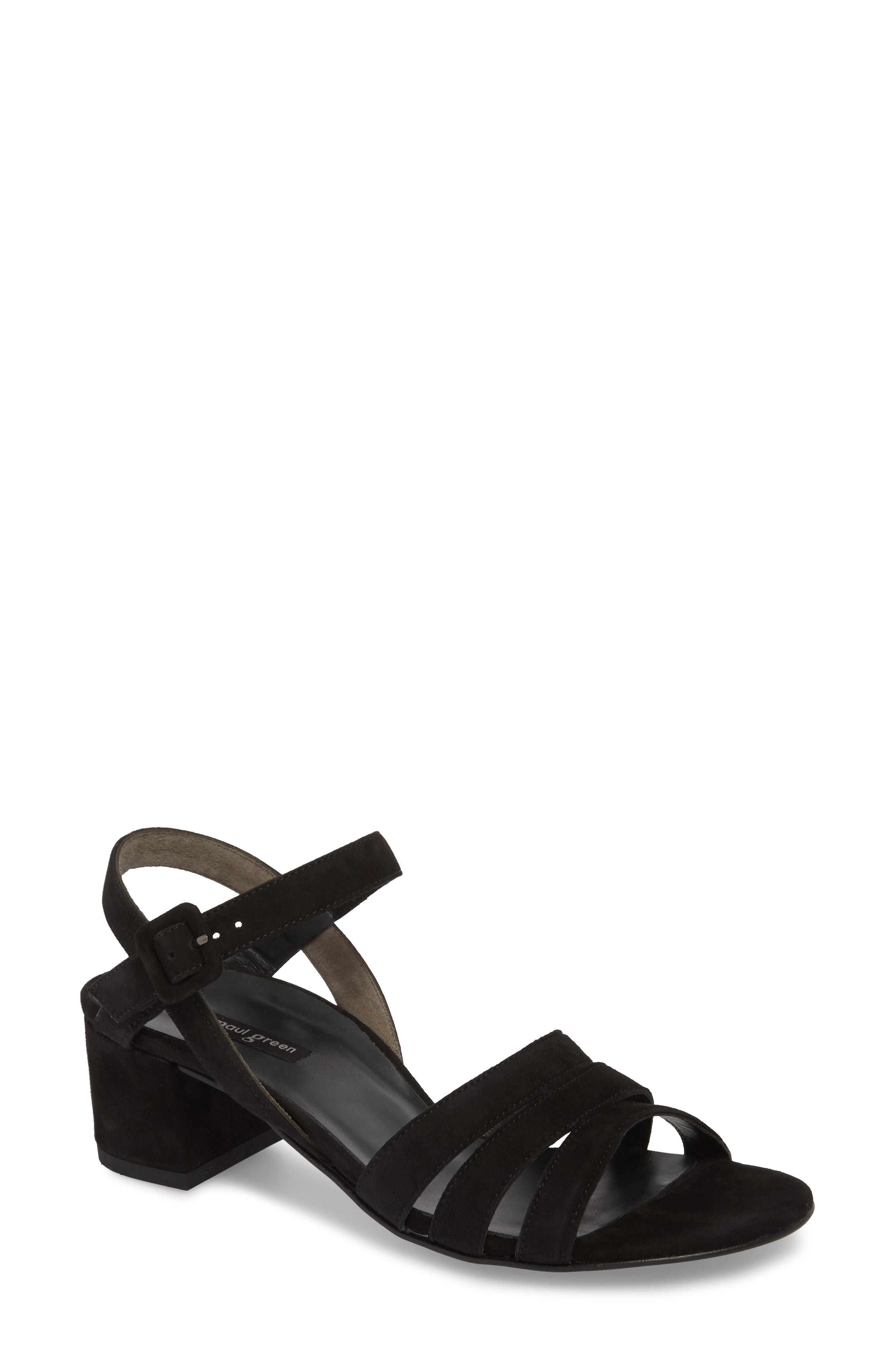 Rosemary Sandal,                         Main,                         color, Black Suede