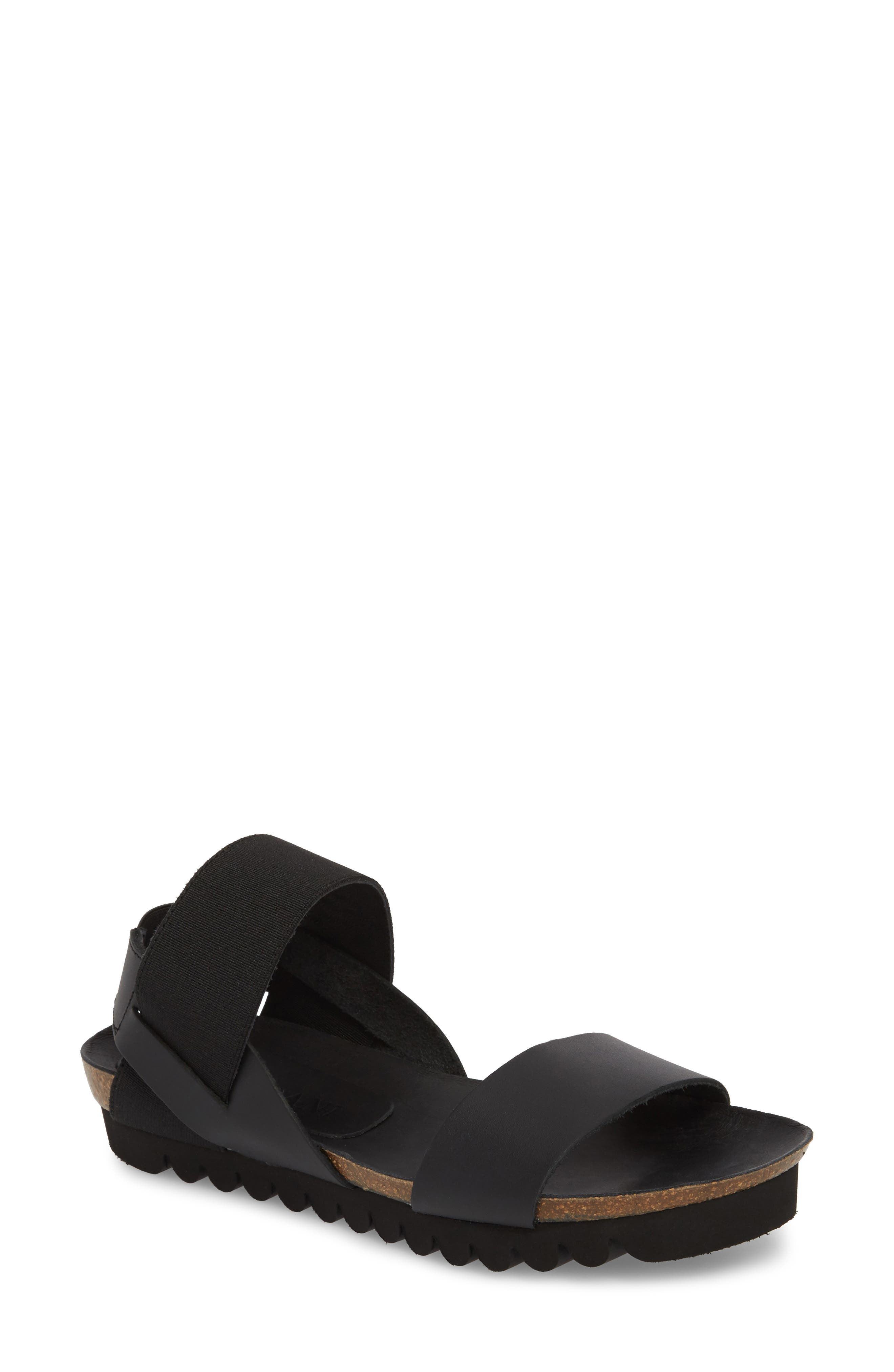 Luna Sandal,                         Main,                         color, Black Leather