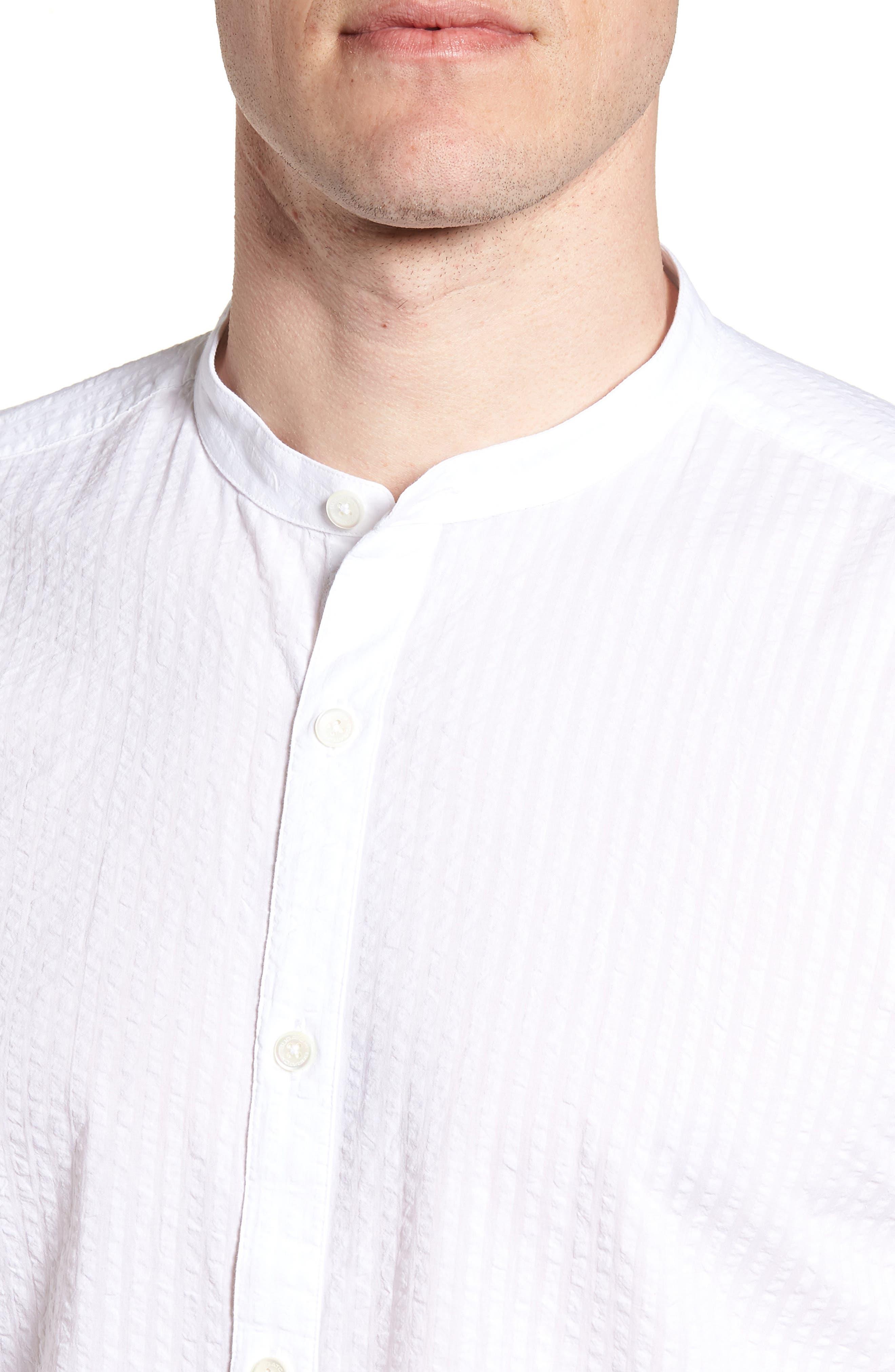 Shaped Fit Band Collar Seersucker Sport Shirt,                             Alternate thumbnail 4, color,                             White