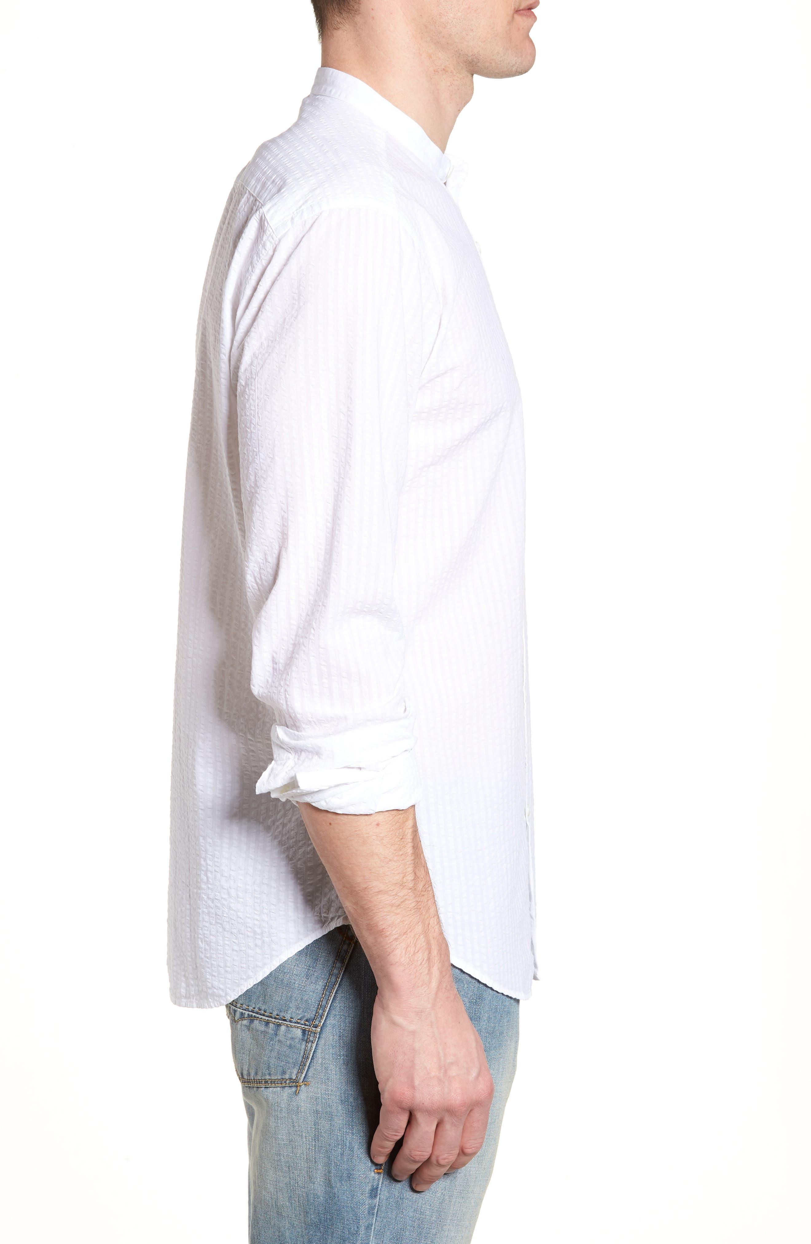 Shaped Fit Band Collar Seersucker Sport Shirt,                             Alternate thumbnail 3, color,                             White