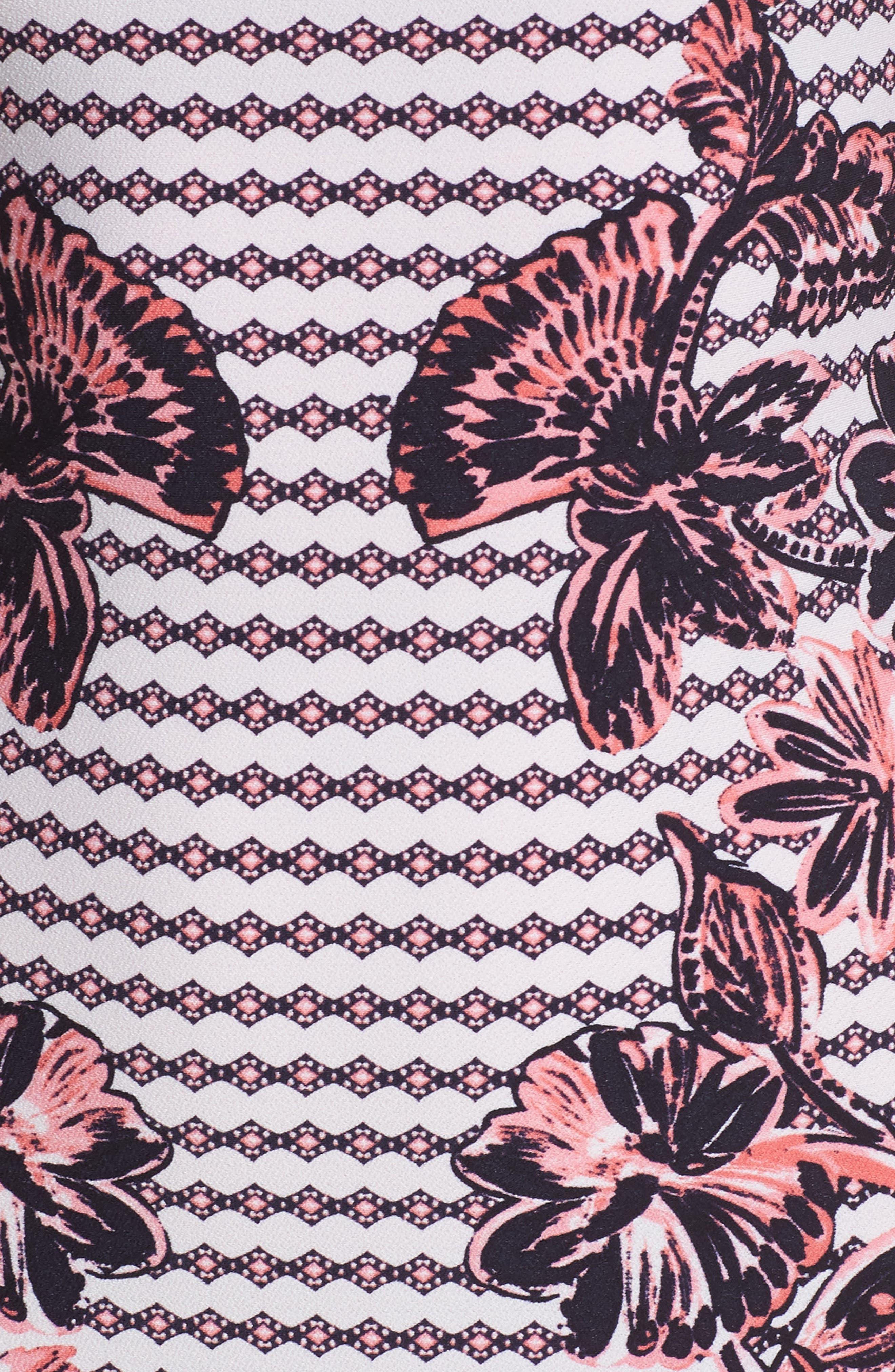 Print Scuba Crepe Sheath Dress,                             Alternate thumbnail 6, color,                             Navy/ Pink