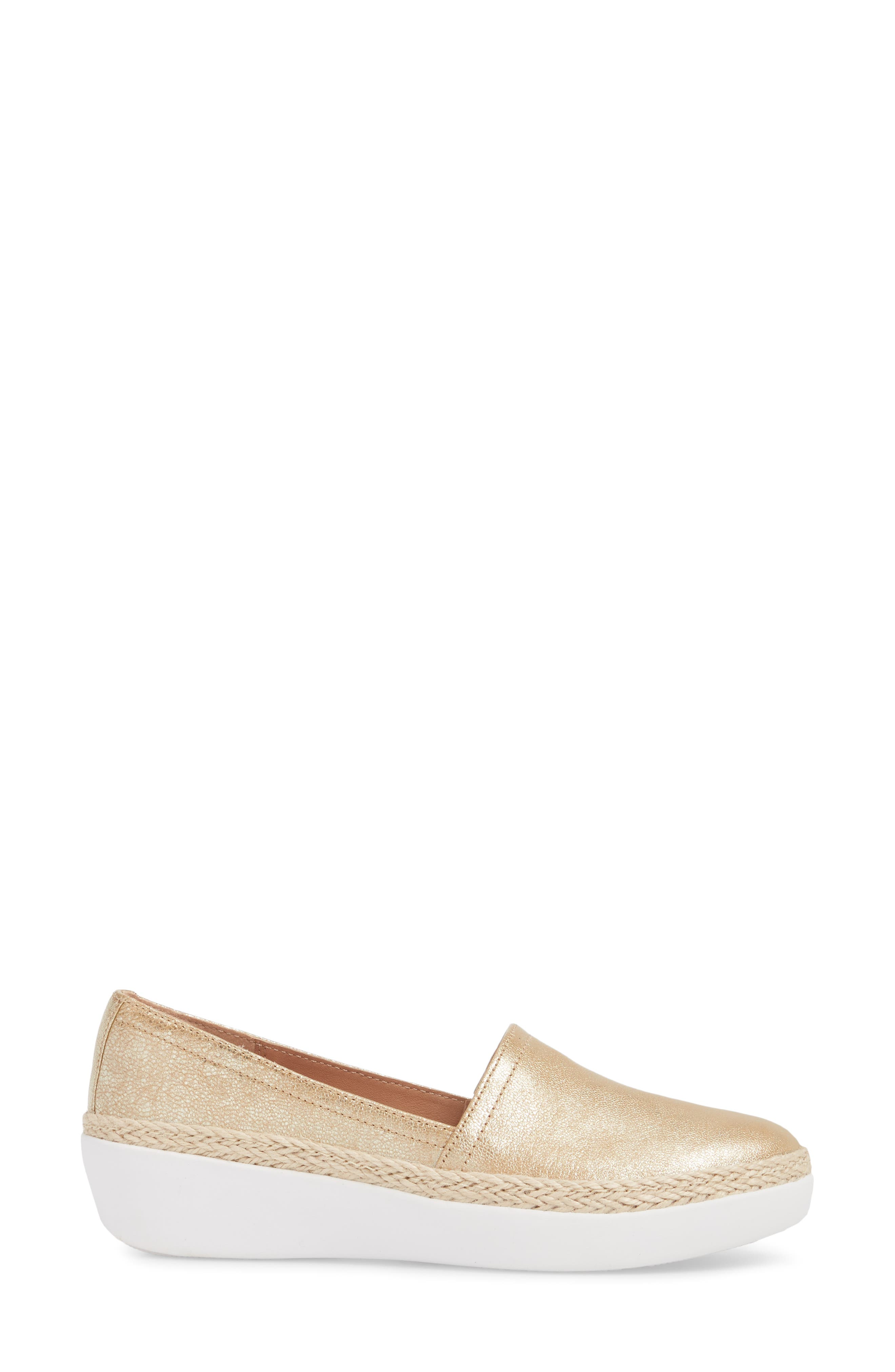 Casa Loafer,                             Alternate thumbnail 3, color,                             Metallic Gold Leather