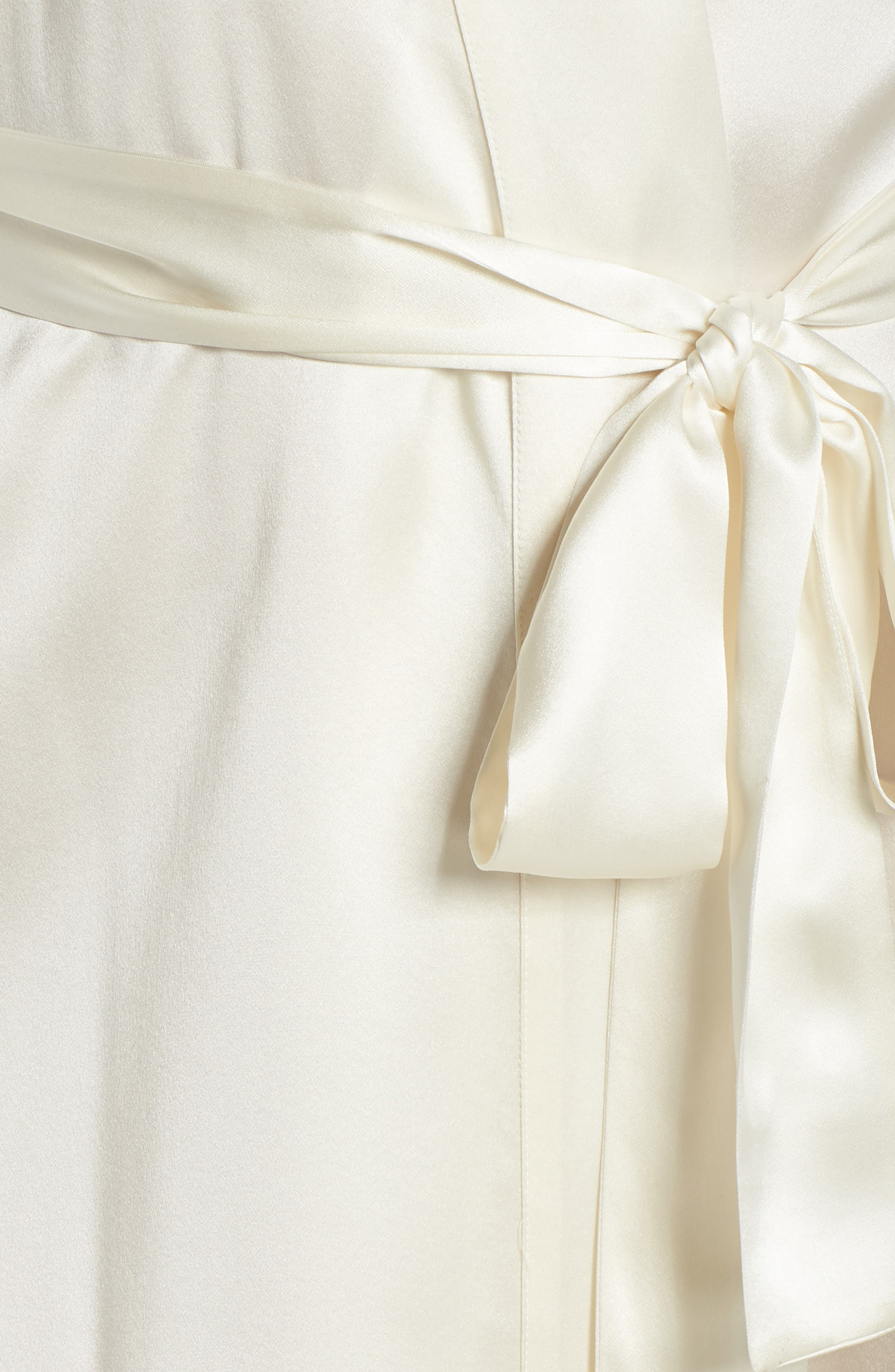 Christine Boudoir Silk Robe,                             Alternate thumbnail 6, color,                             Pearl / Pearl