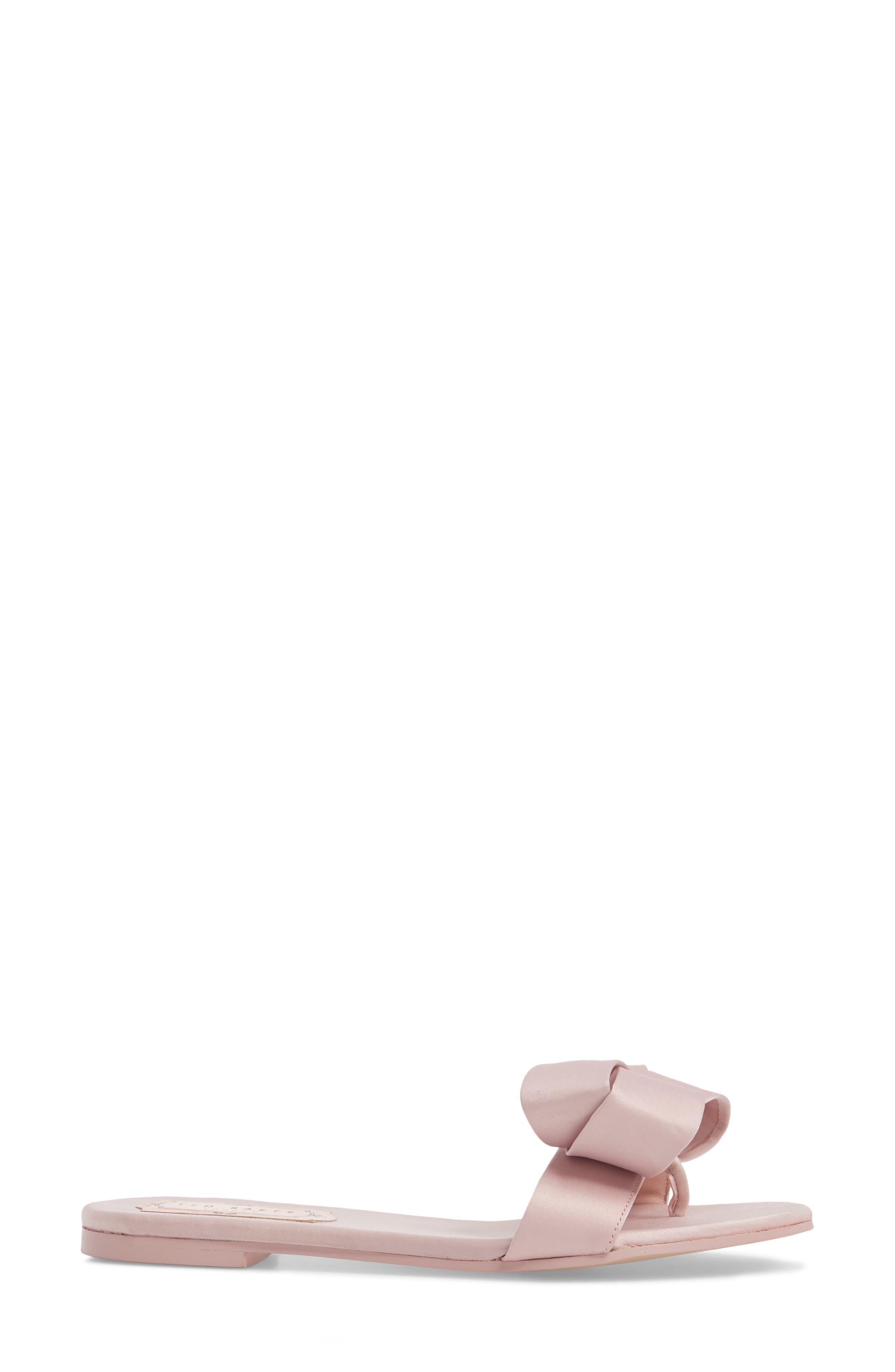 Slide Sandal,                             Alternate thumbnail 3, color,                             Light Pink Satin