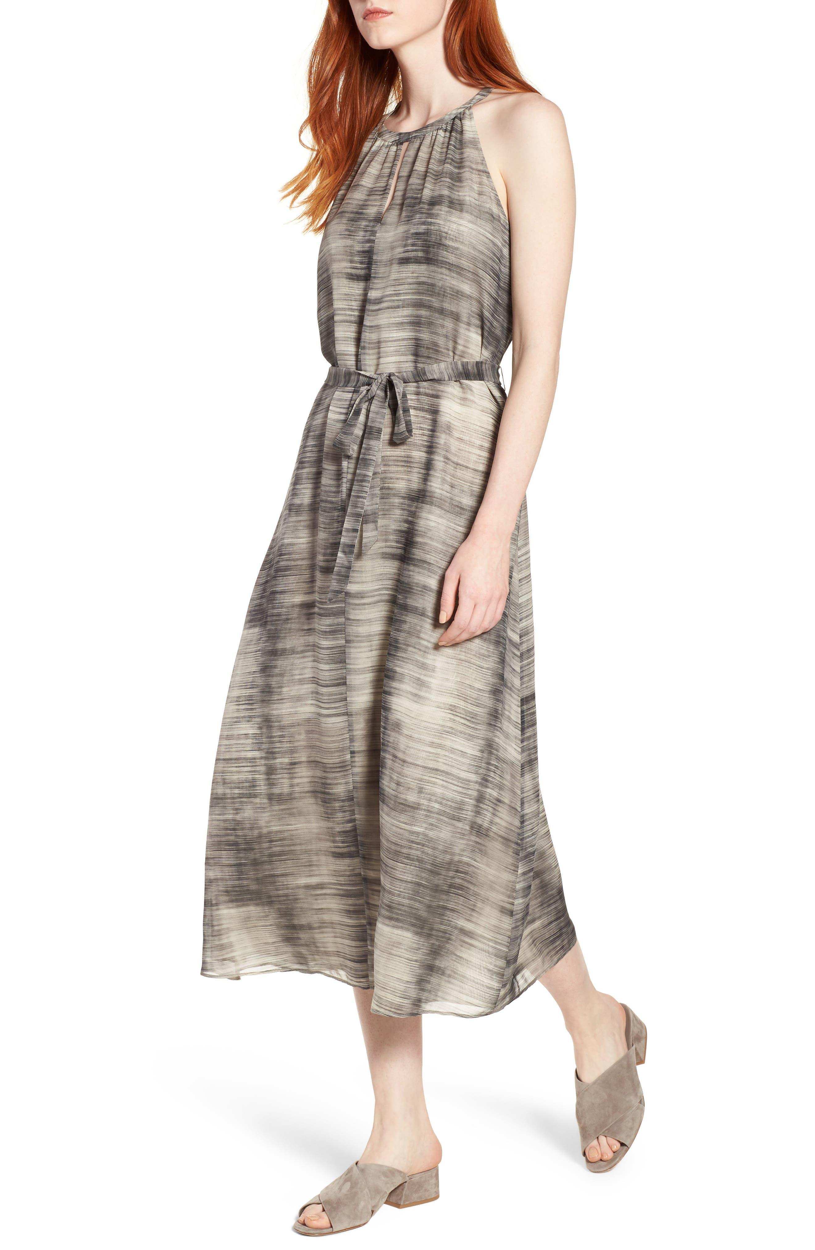 Silk Midi Dress,                             Main thumbnail 1, color,                             Limestone