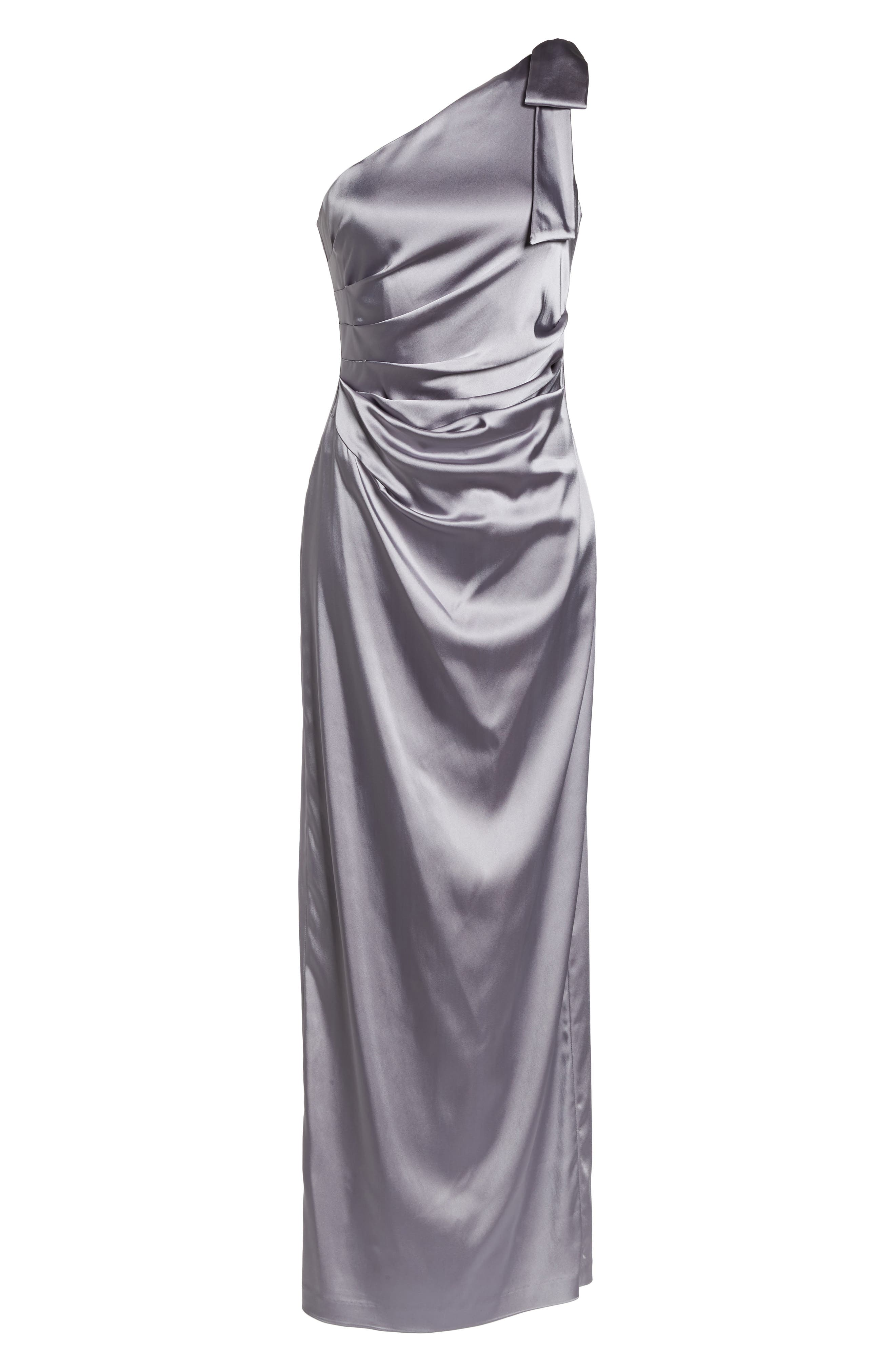 One-Shoulder Stretch Satin Gown,                             Alternate thumbnail 6, color,                             Silver