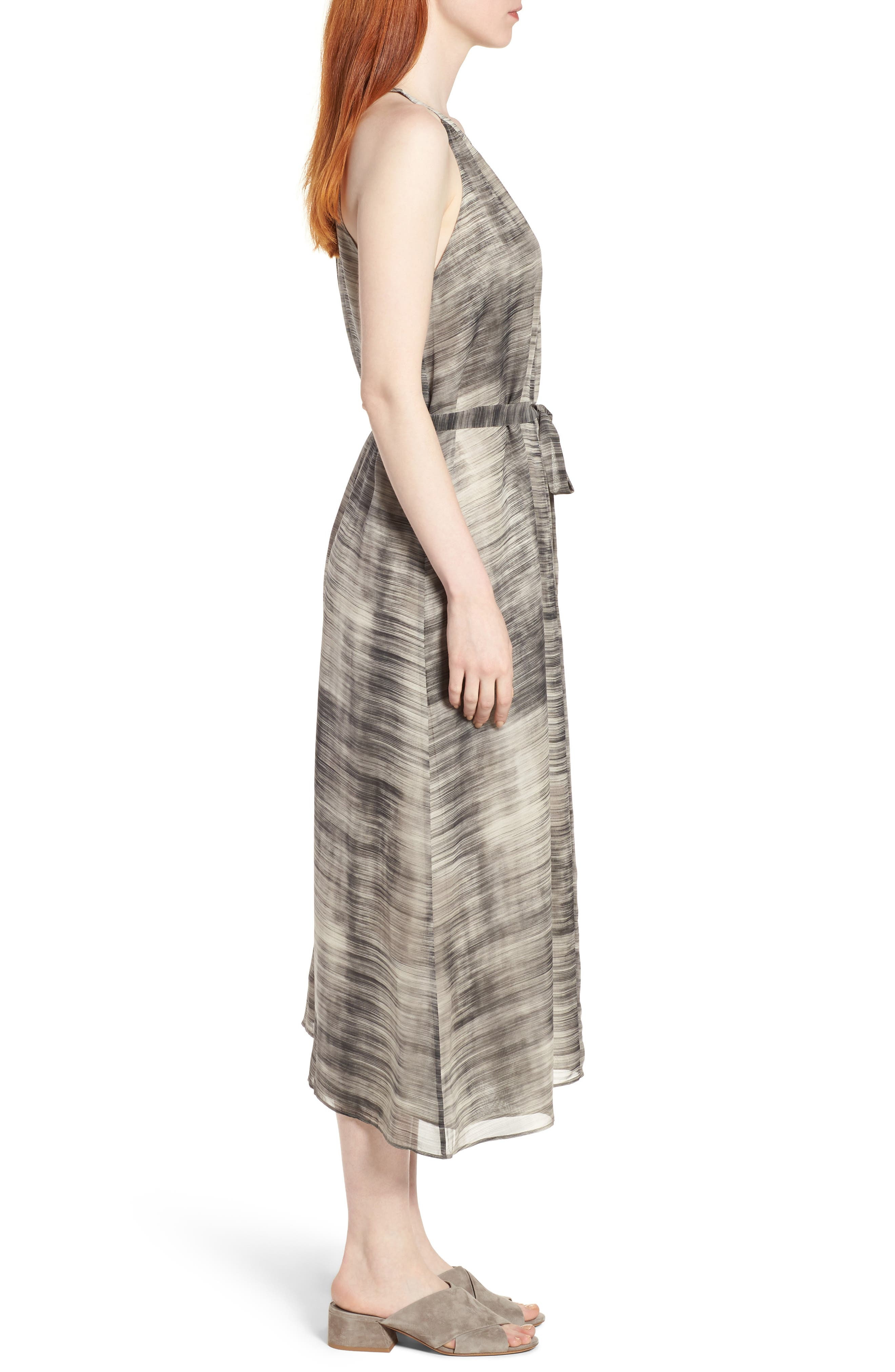 Silk Midi Dress,                             Alternate thumbnail 3, color,                             Limestone