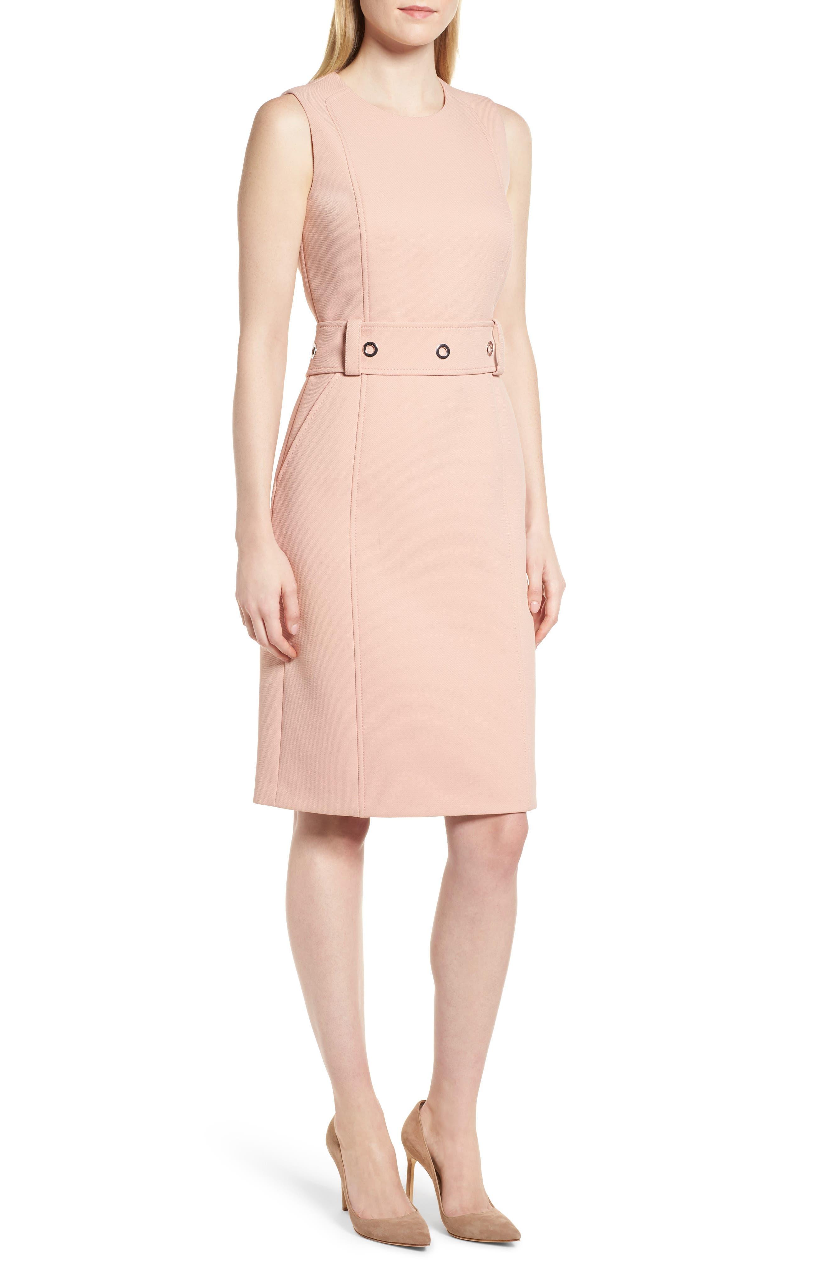 Duleama Compact Twill Dress,                             Main thumbnail 1, color,                             Blush