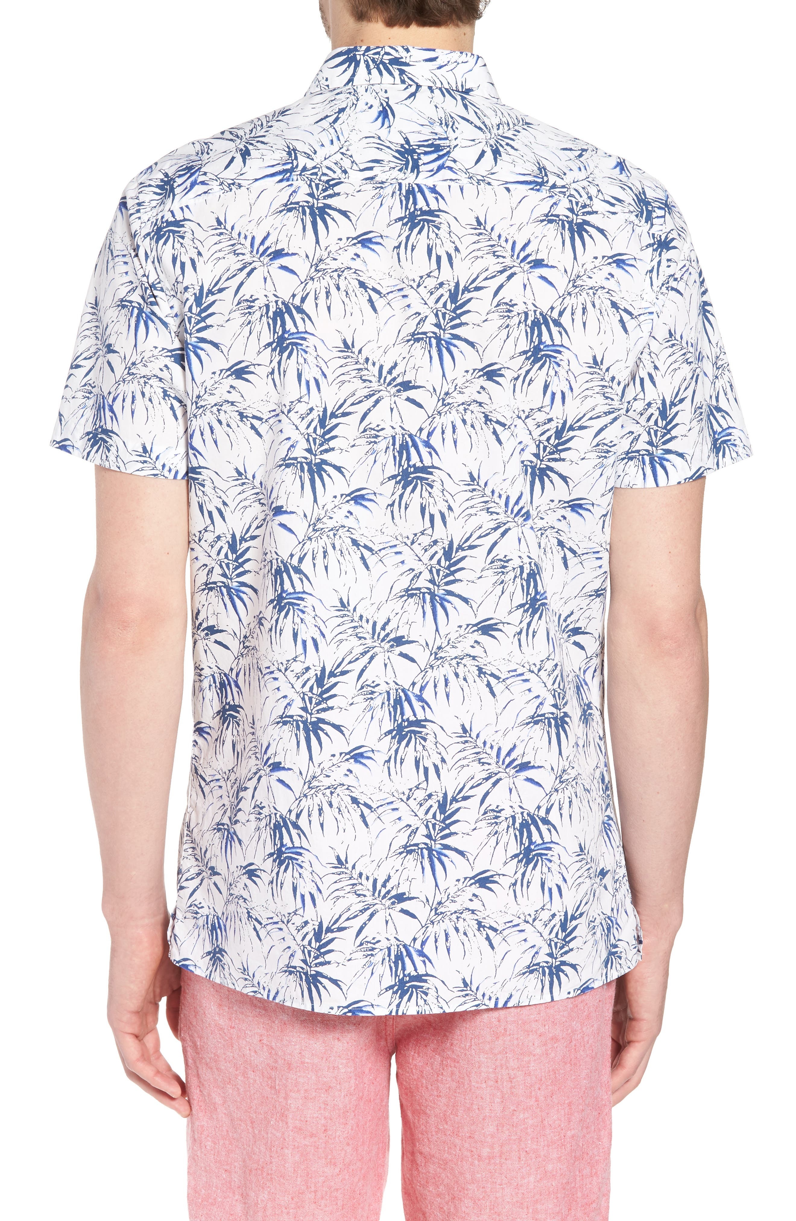 Trim Fit Palm Print Camp Shirt,                             Alternate thumbnail 3, color,                             White Navy Stamped Palms