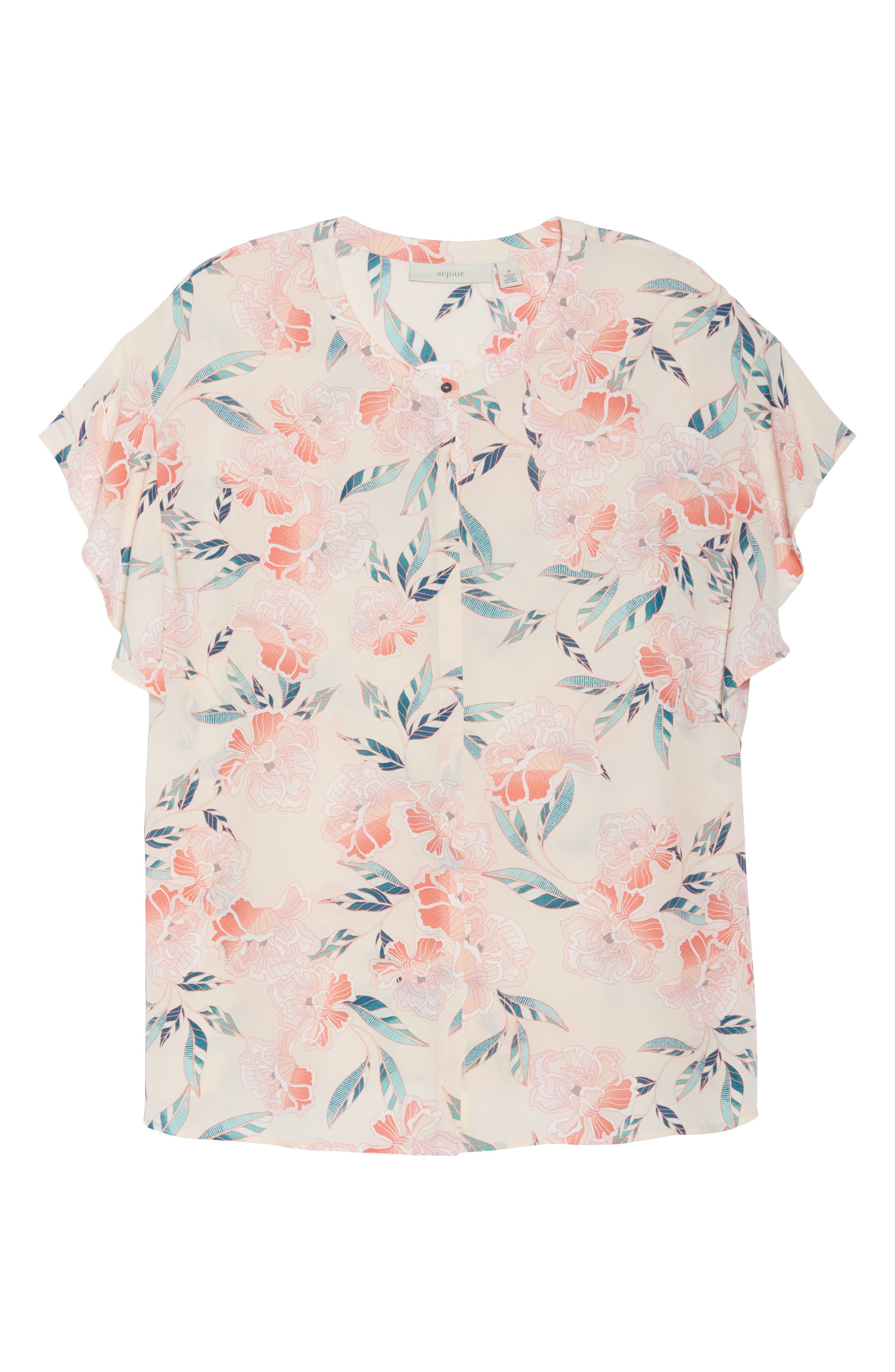 Flutter Sleeve Top,                             Alternate thumbnail 7, color,                             Pink Oriental Print