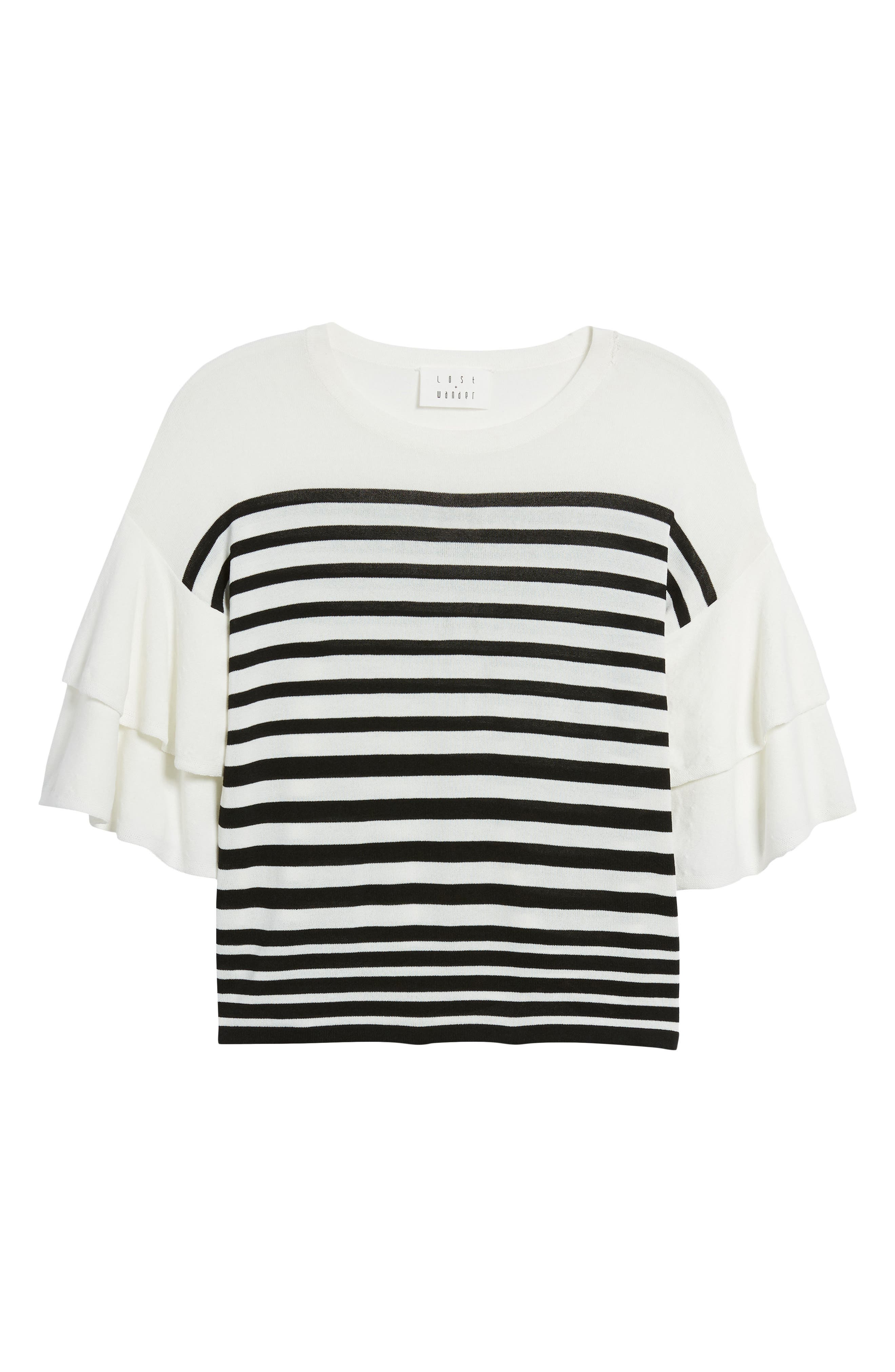 Marin Stripe Ruffle Sleeve Sweater,                             Alternate thumbnail 7, color,                             White/Black