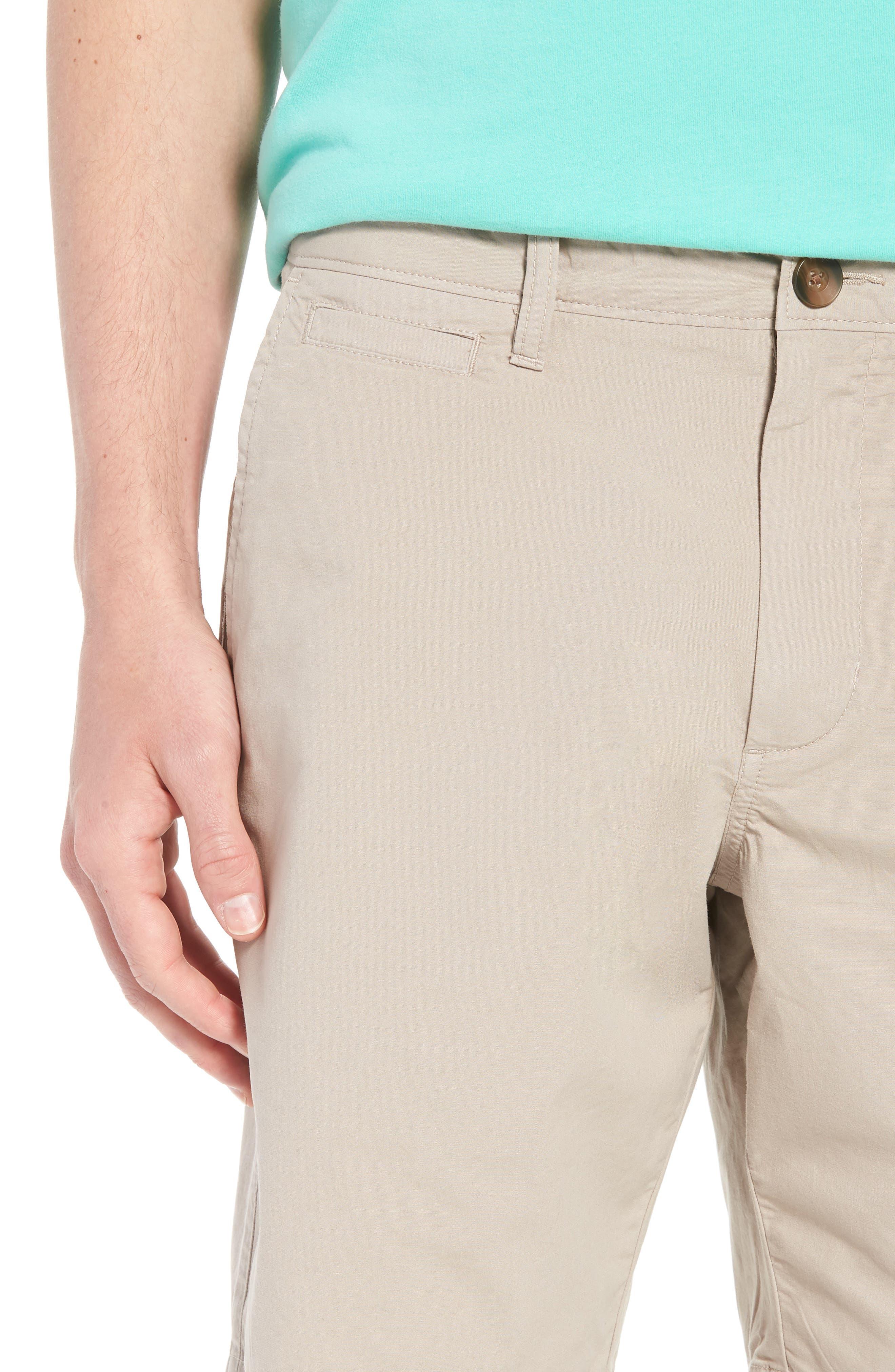 Stretch Poplin Shorts,                             Alternate thumbnail 4, color,                             Tan Thread