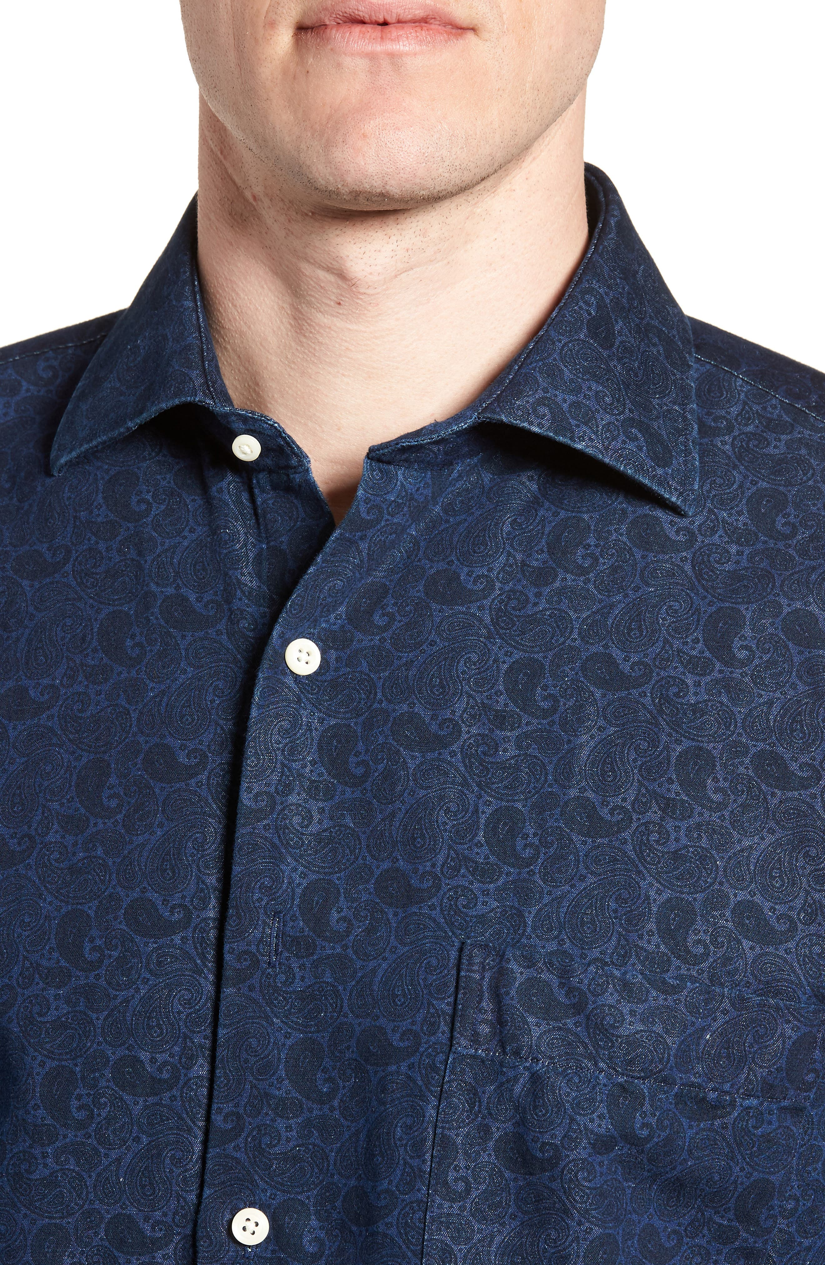 Crown Cool Paisley Denim Sport Shirt,                             Alternate thumbnail 4, color,                             Yankee Blue