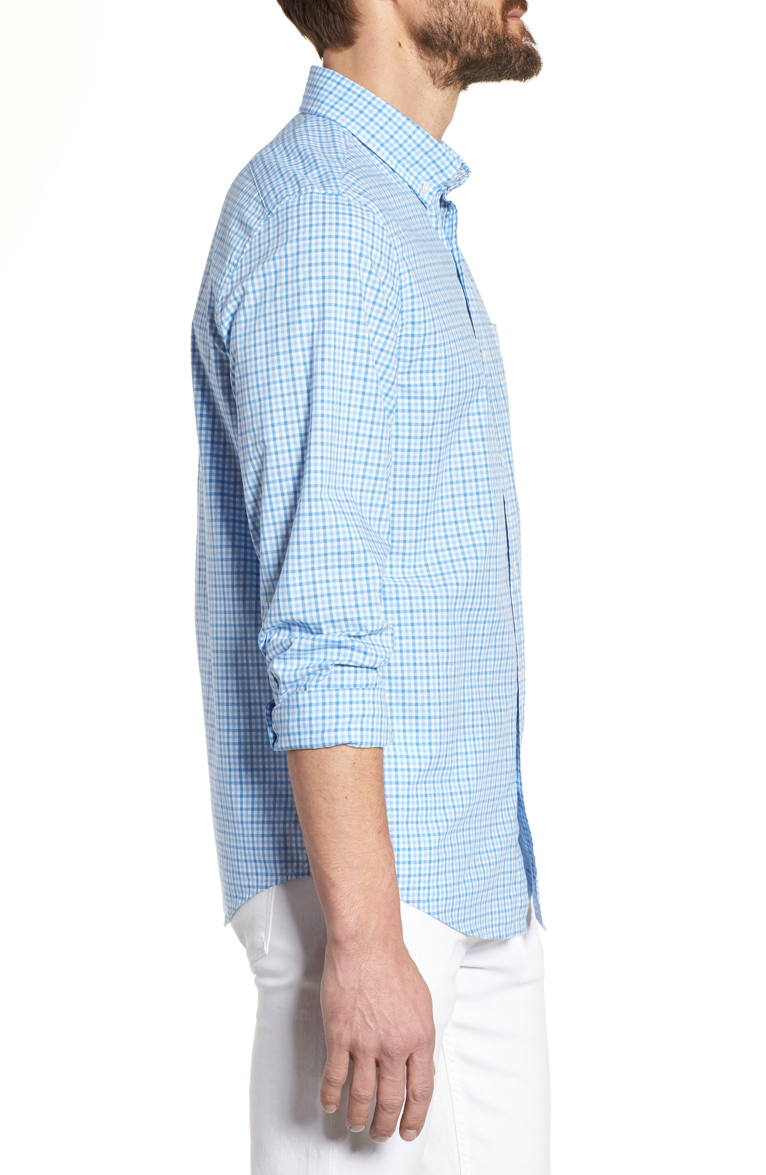 Tipsy Turtle Check Slim Fit Sport Shirt,                             Alternate thumbnail 3, color,                             Harbor Cay