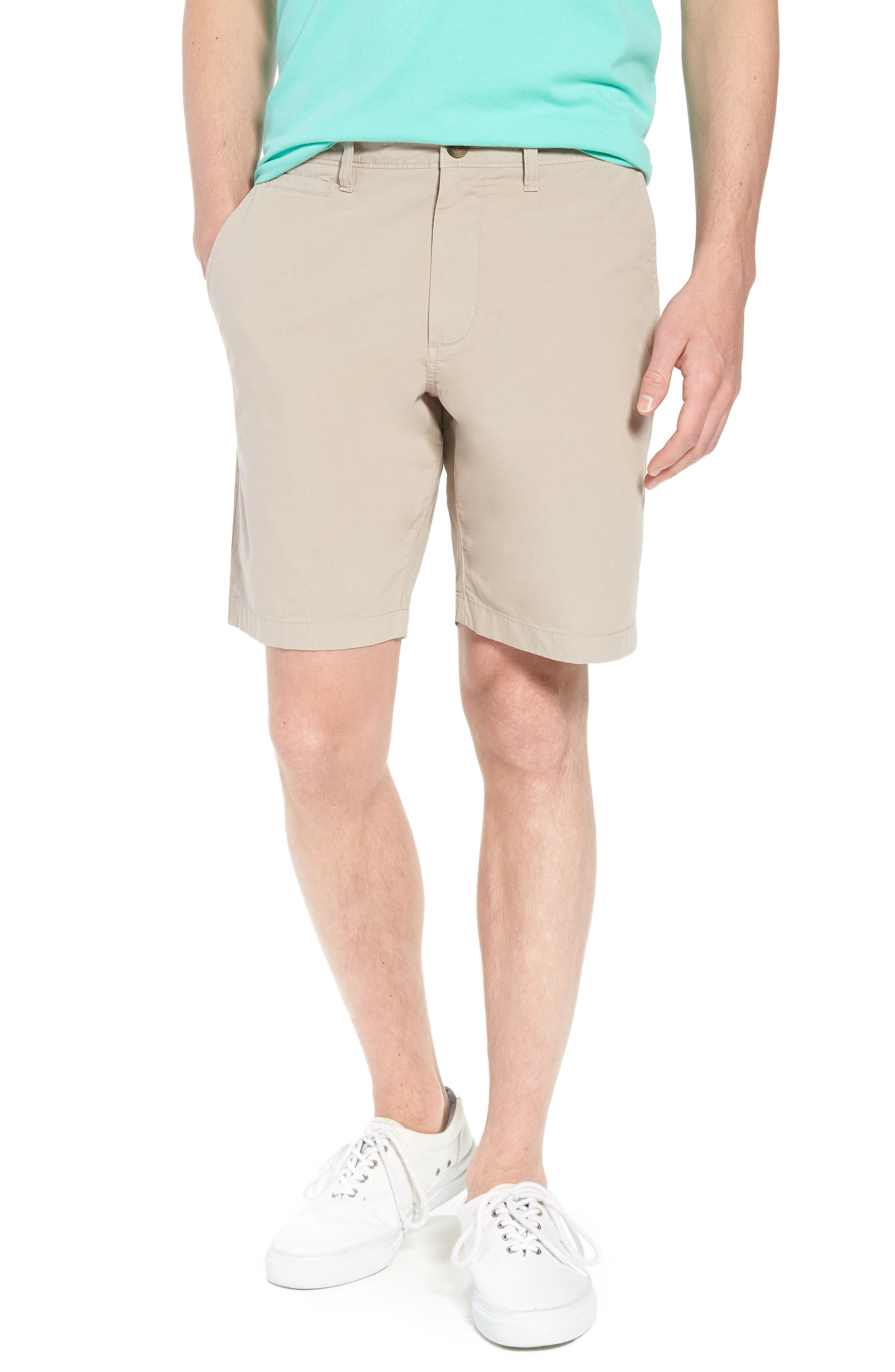 Stretch Poplin Shorts,                             Main thumbnail 1, color,                             Tan Thread