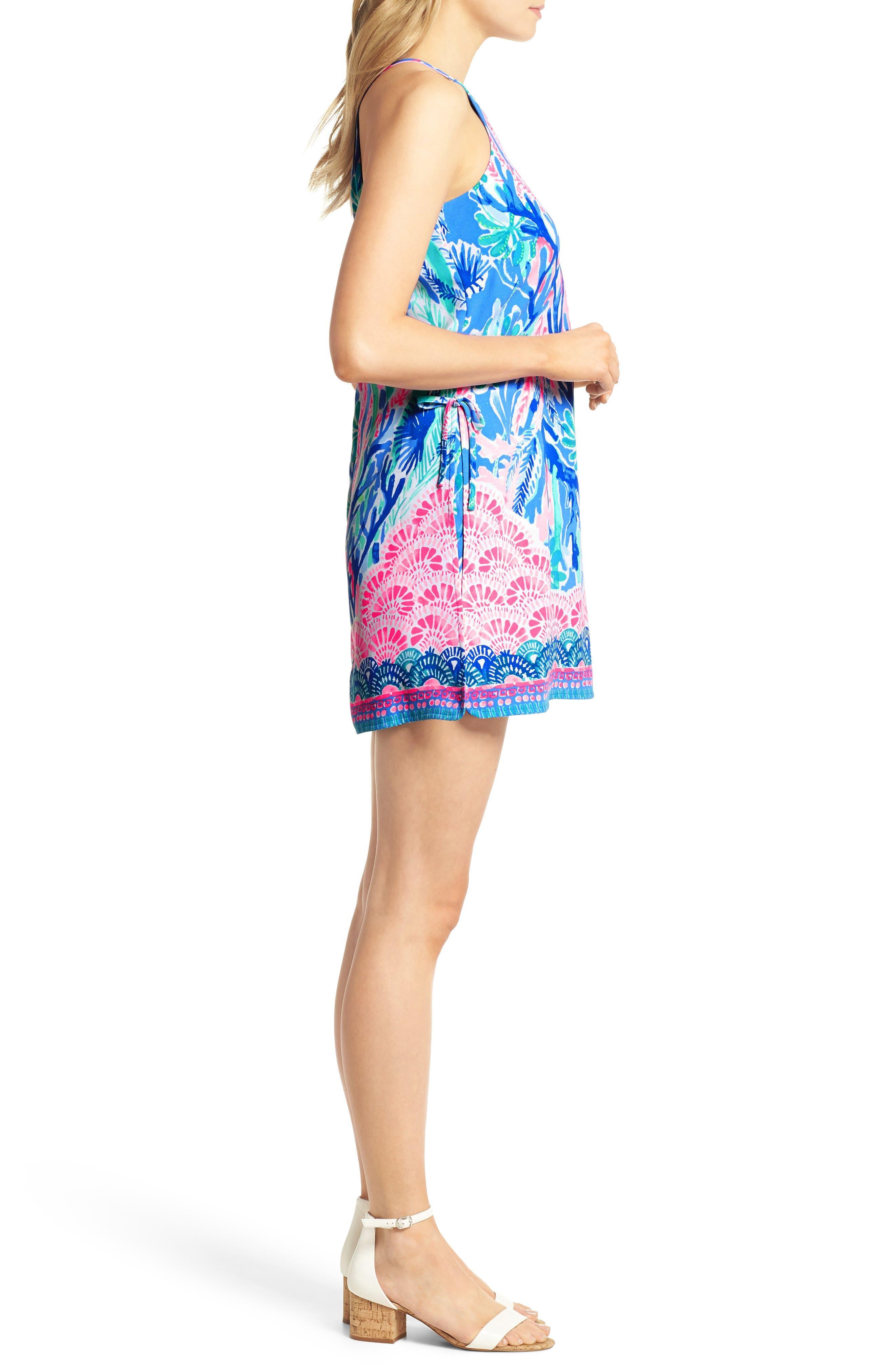 Pearl Romper Dress,                             Alternate thumbnail 3, color,                             Multi Jet Stream