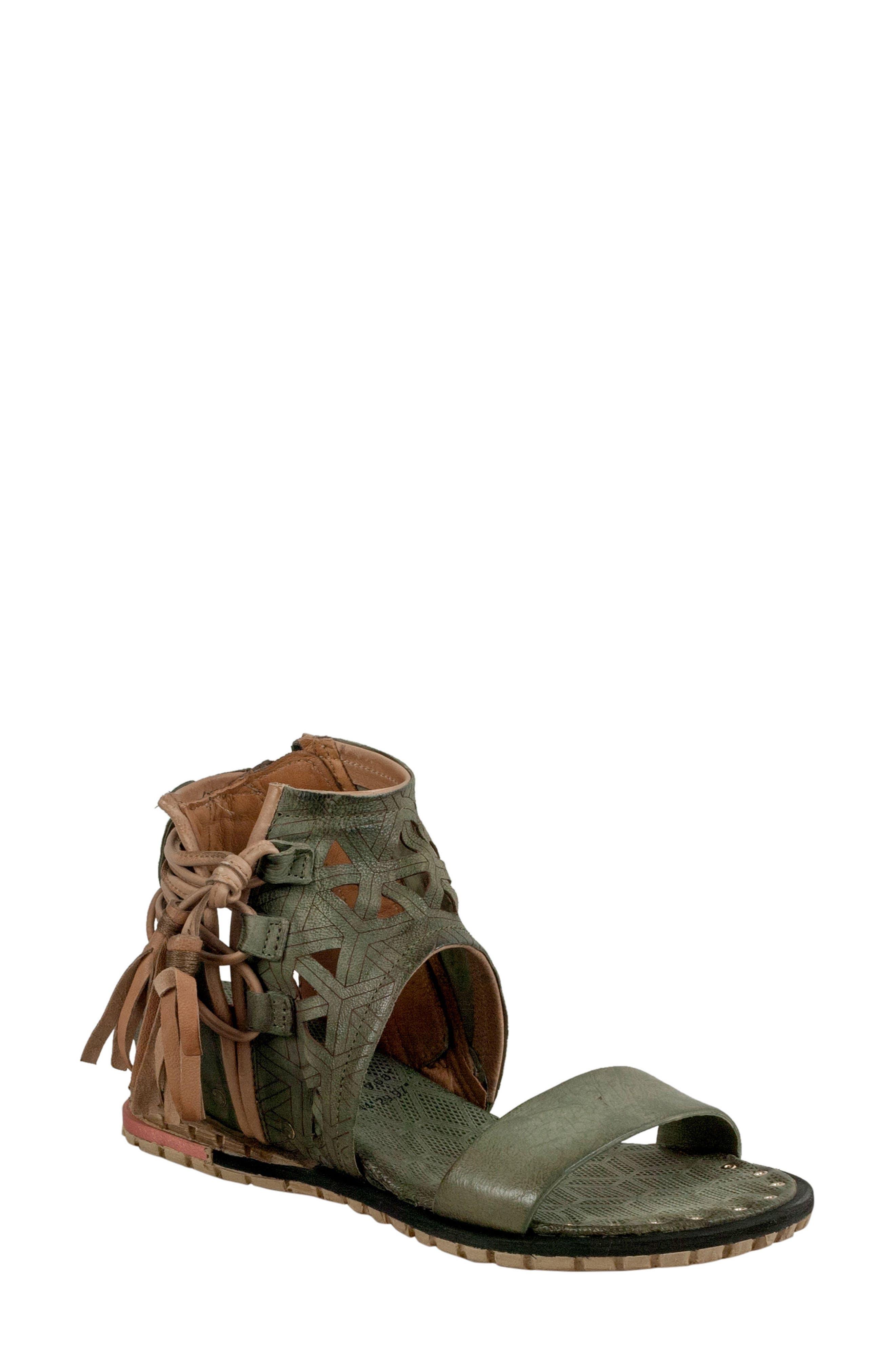 A.S.98 Petrona Ankle Shield Sandal, Moss