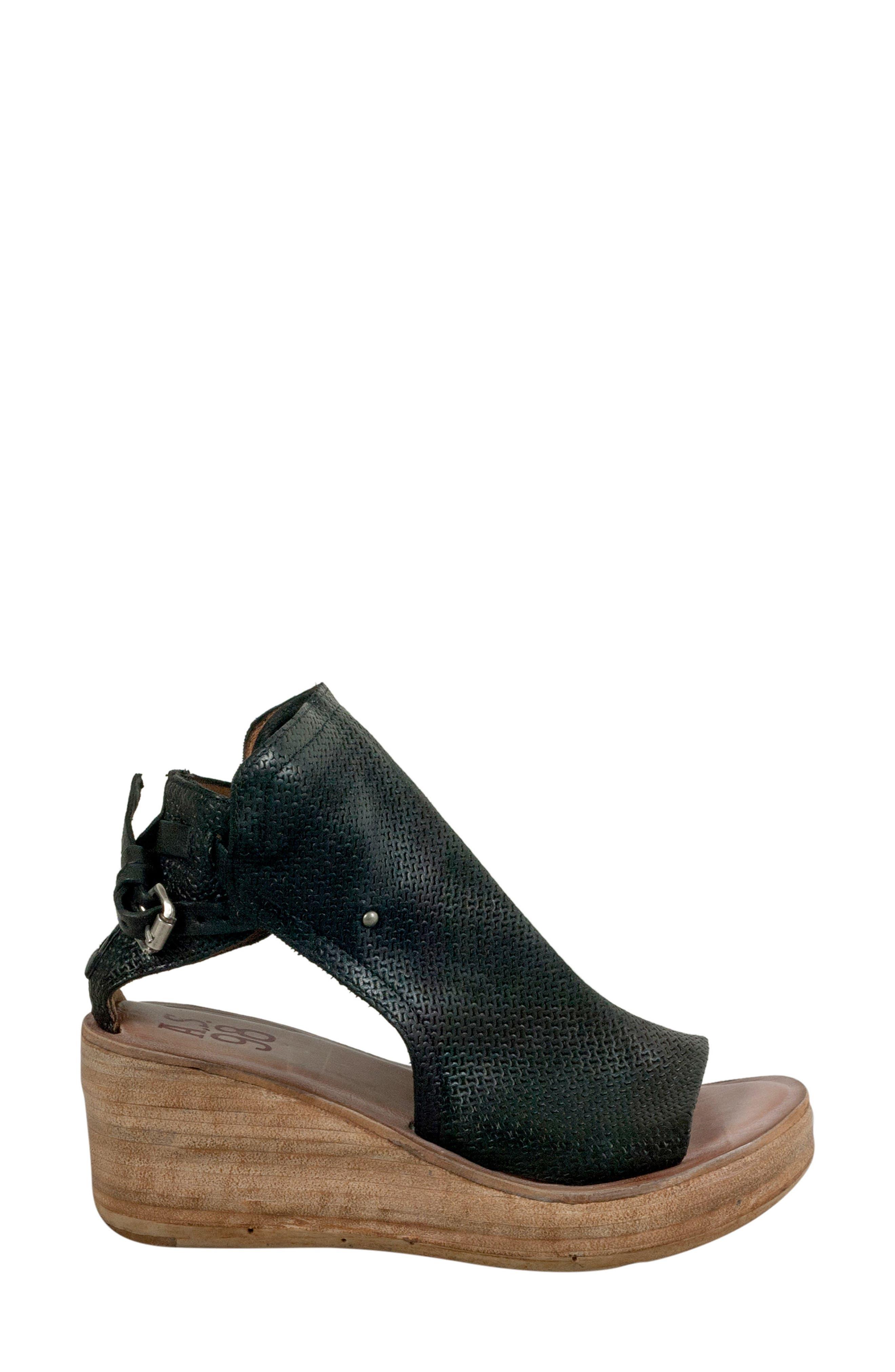 Nathan Platform Wedge Sandal,                             Alternate thumbnail 3, color,                             Black