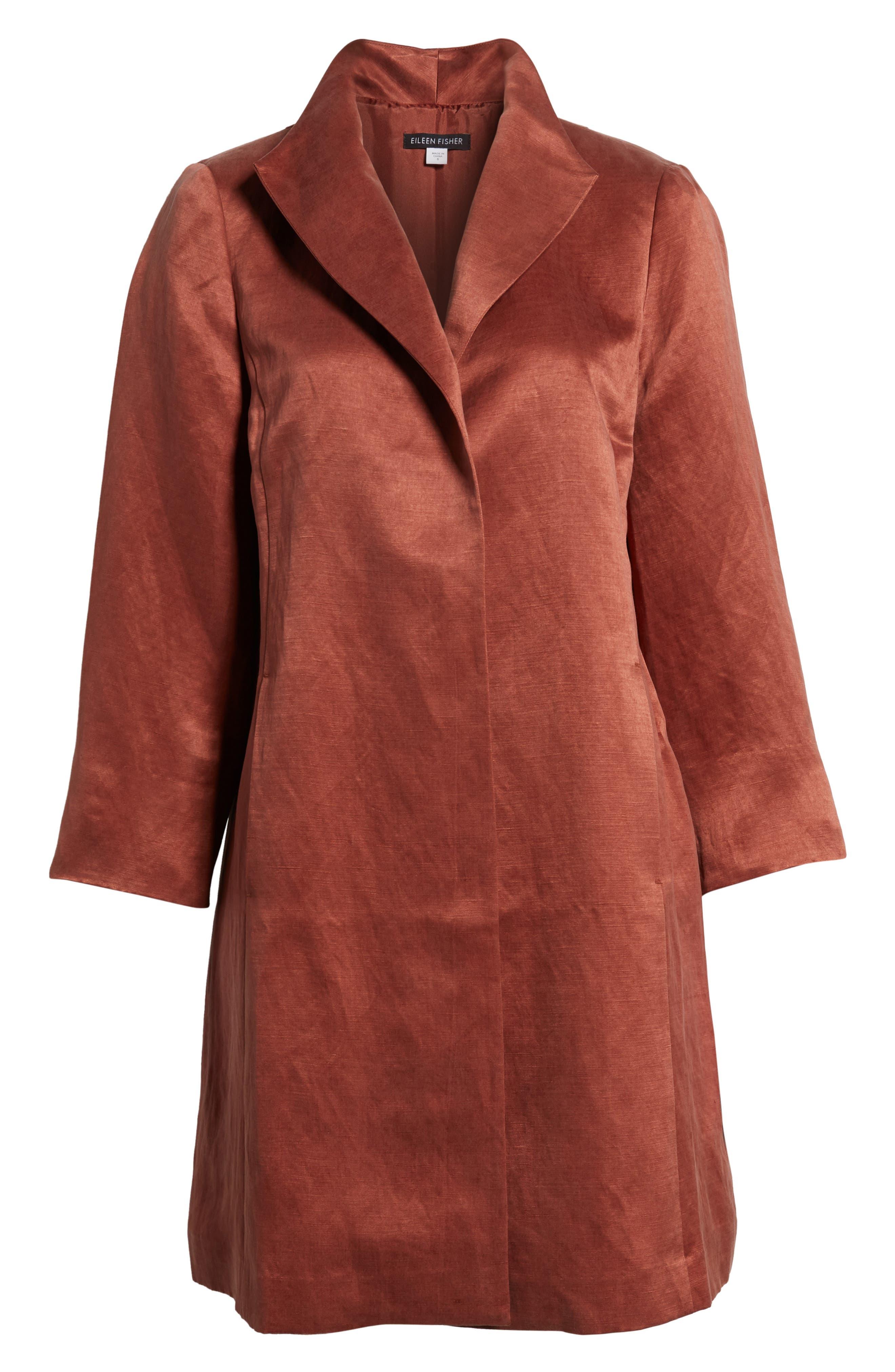 High Collar Long Jacket,                             Alternate thumbnail 7, color,                             Russet