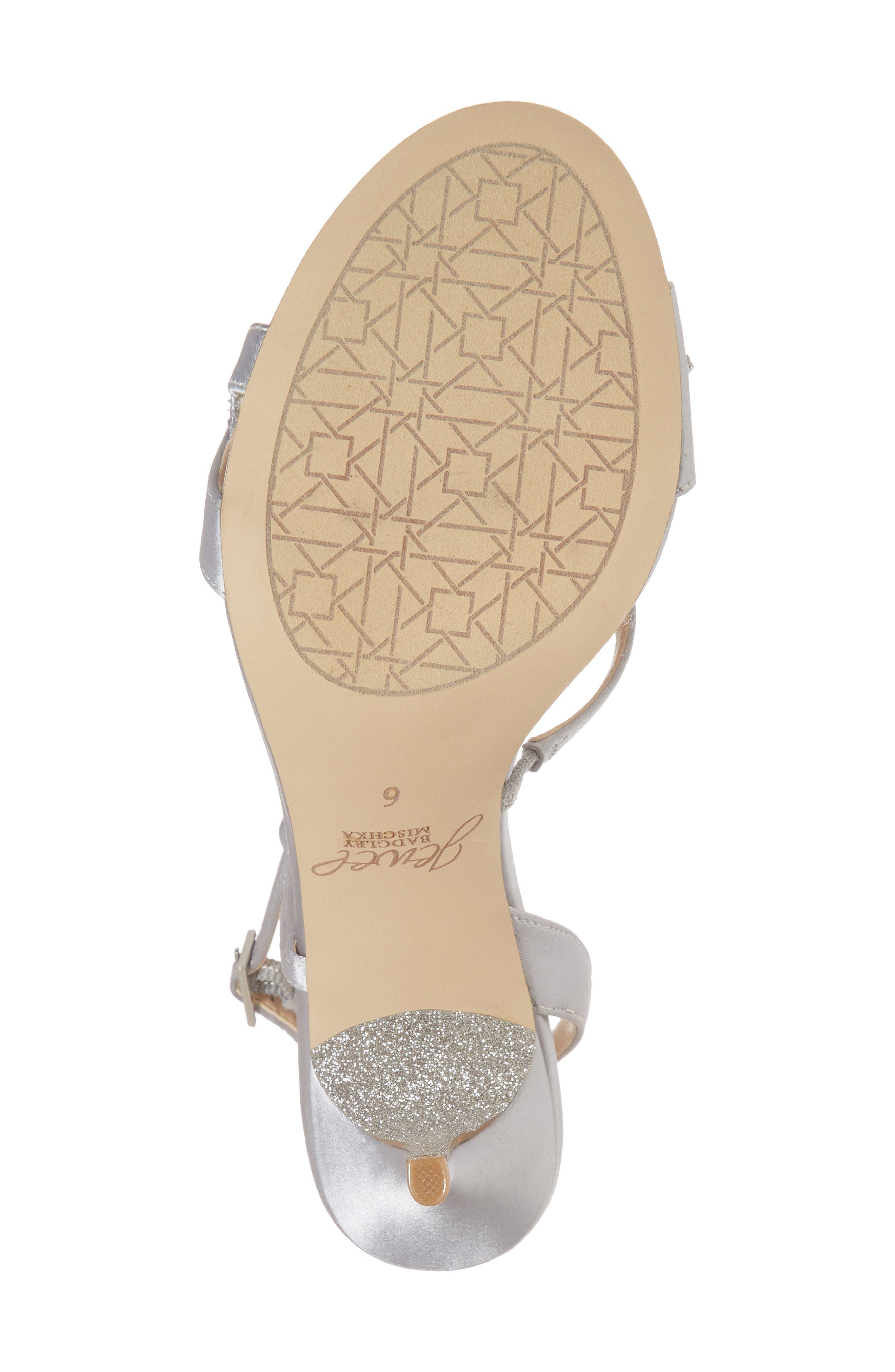 Badgley Mischka Ganet Embellished Sandal,                             Alternate thumbnail 6, color,                             Silver Satin