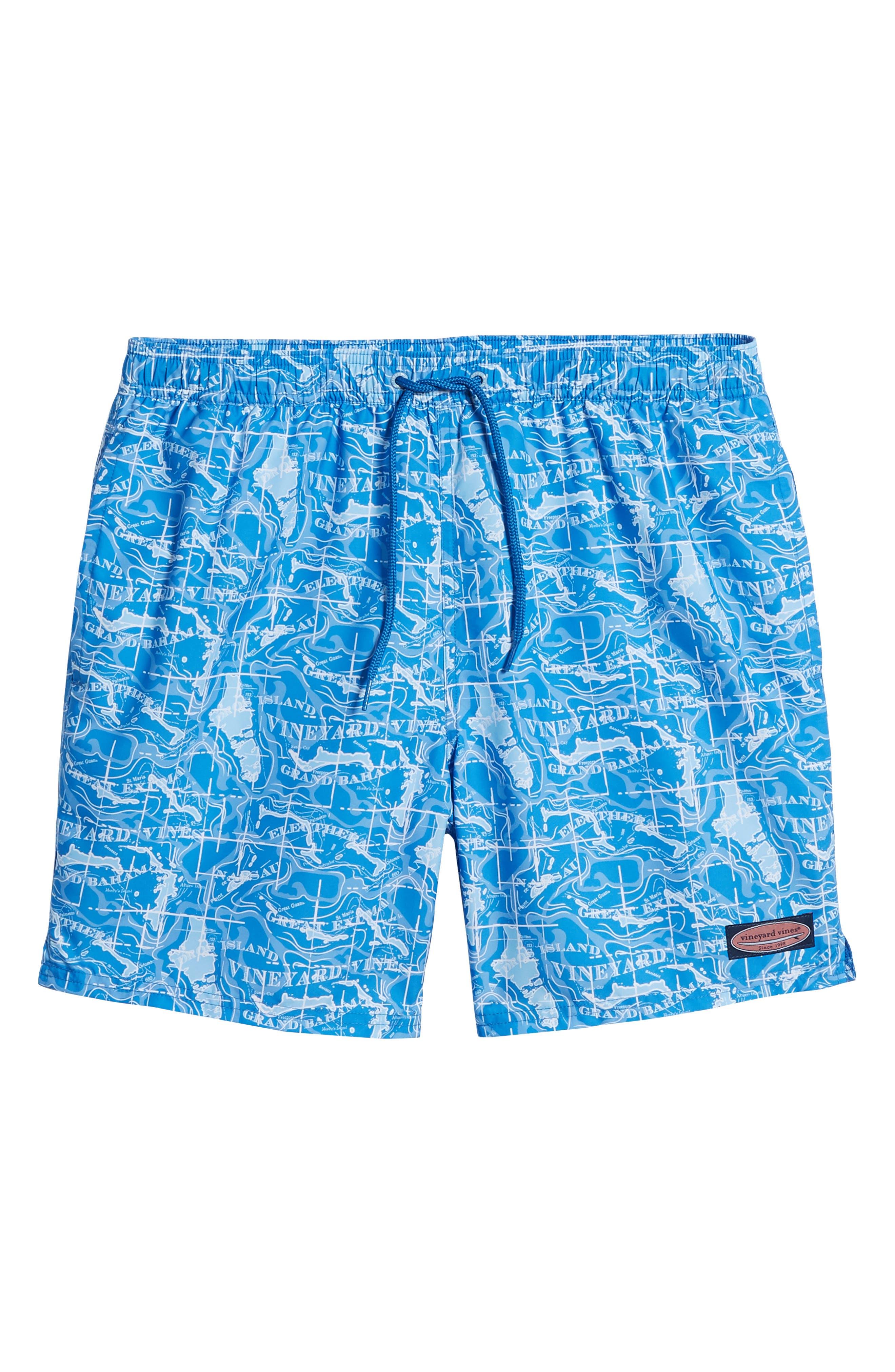 Chappy Bahama Map Swim Trunks,                             Alternate thumbnail 6, color,                             Hull Blue