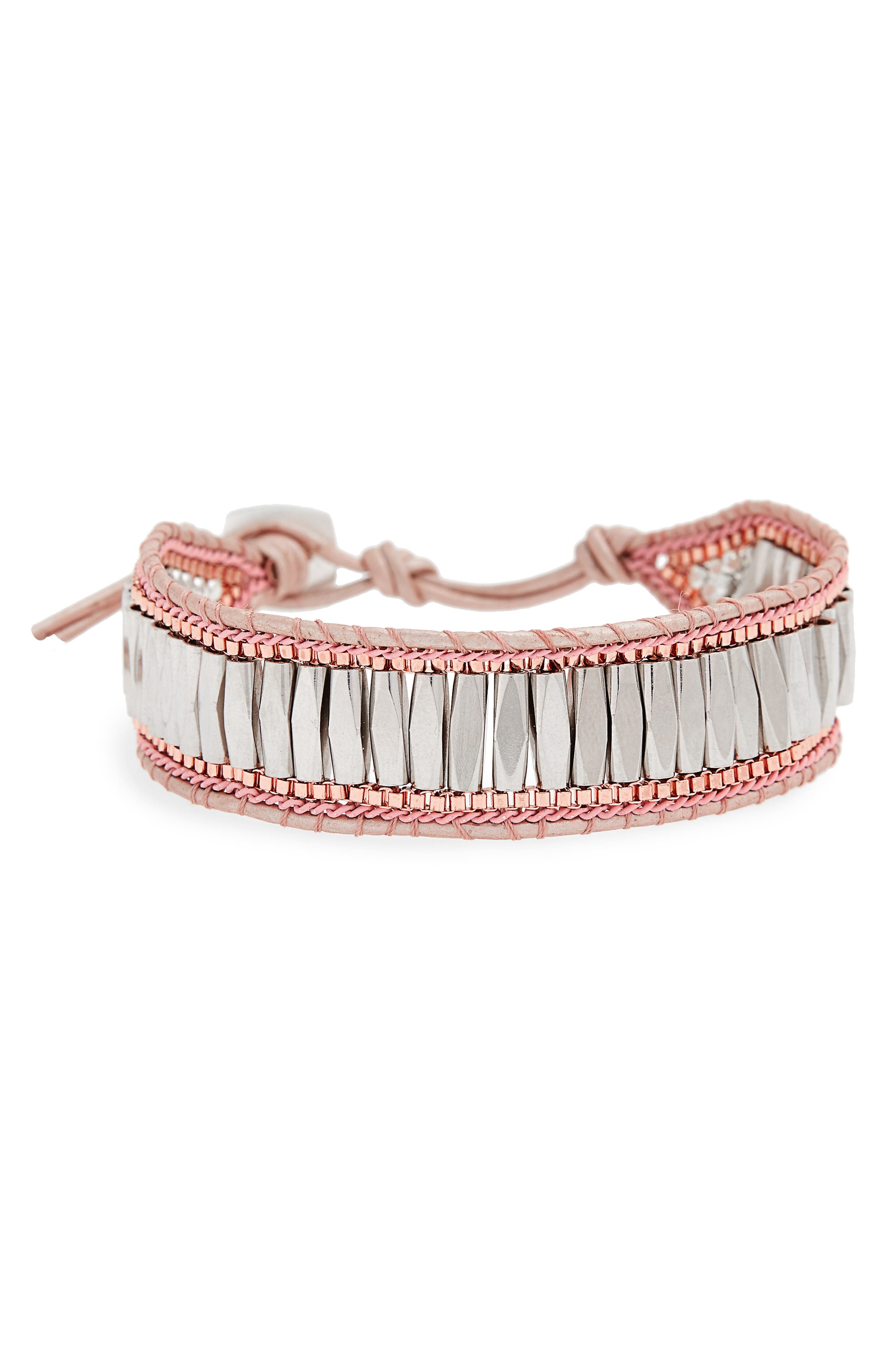 Beaded Leather Bracelet,                             Main thumbnail 1, color,                             Pink