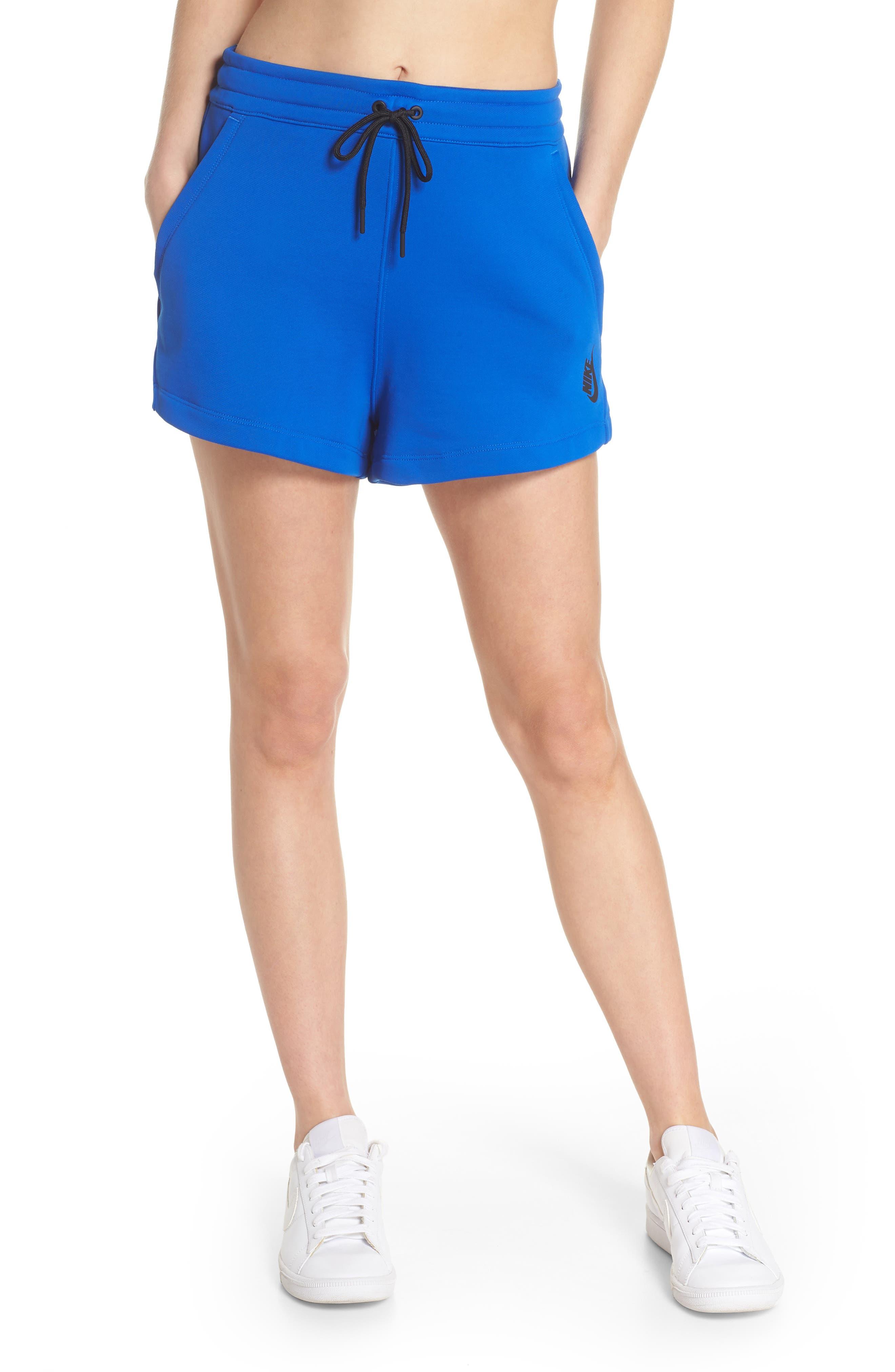 NikeLab Collection Women's Fleece Shorts,                         Main,                         color, Hyper Cobalt/ Black