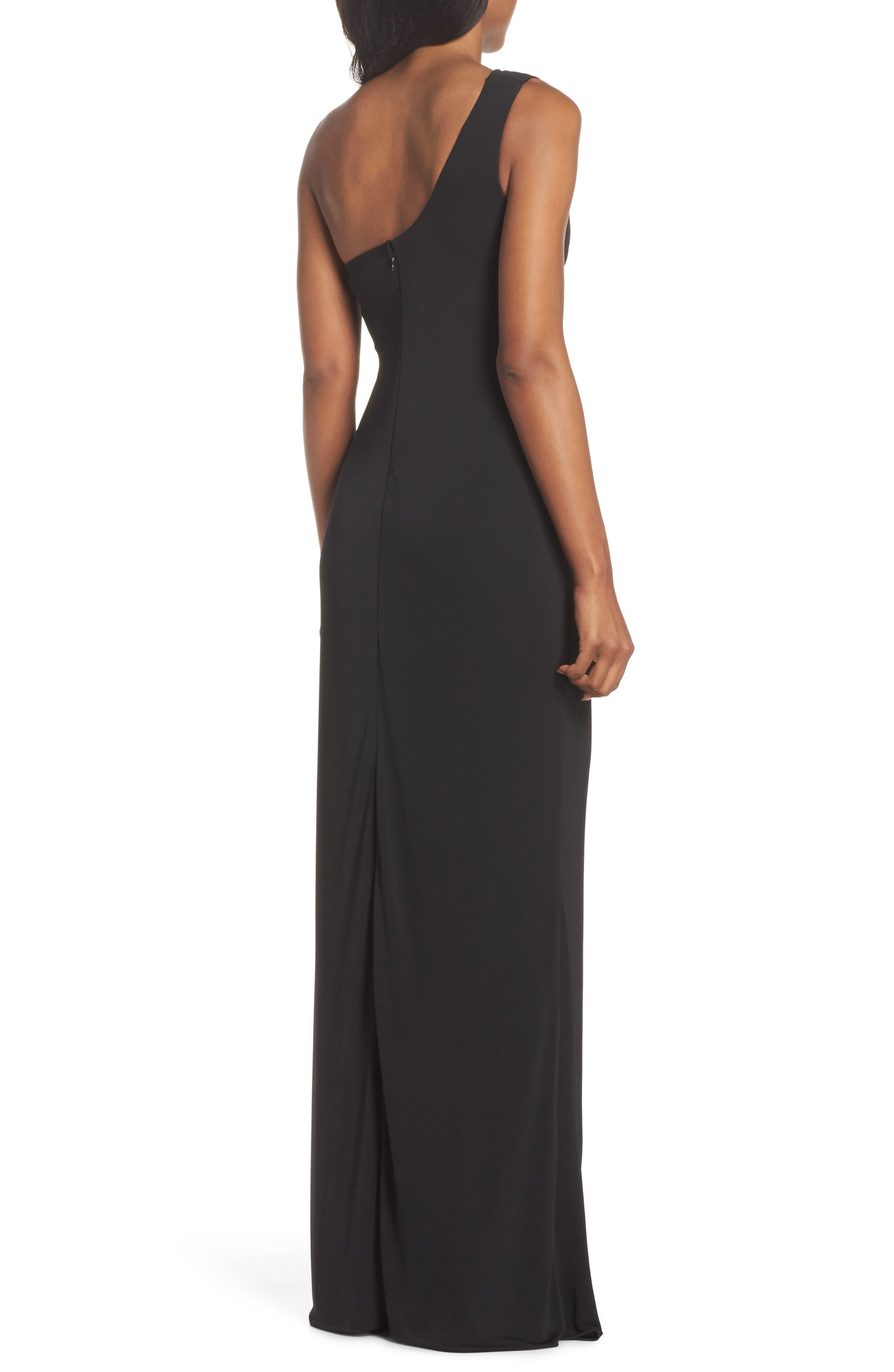 Kerri One-Shoulder Gown,                             Alternate thumbnail 2, color,                             Black