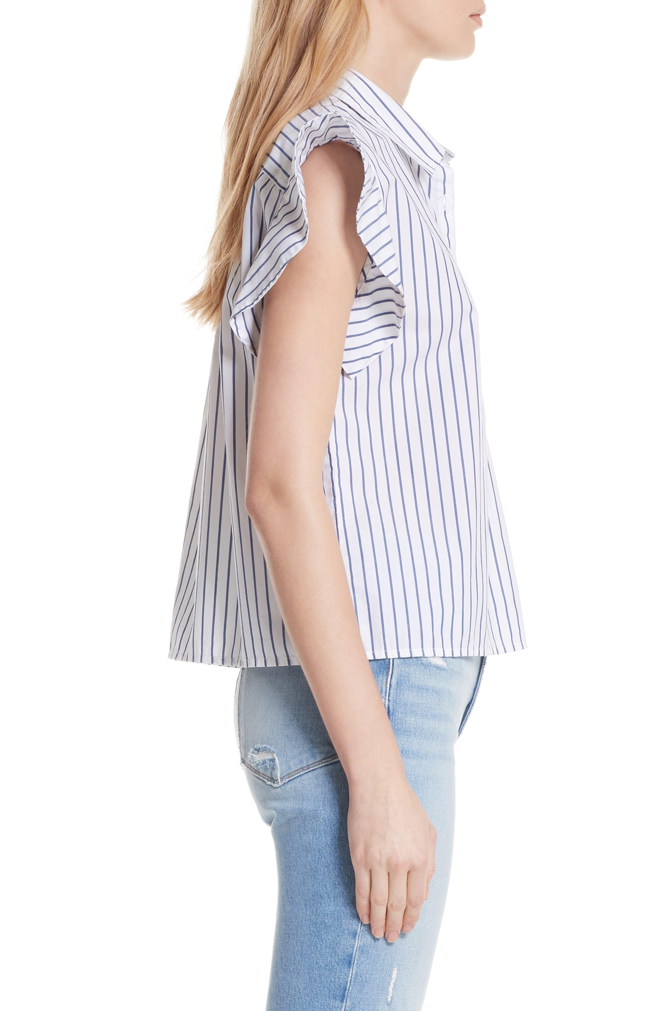 Flutter Sleeve Stripe Shirt,                             Alternate thumbnail 3, color,                             Blanc Multi