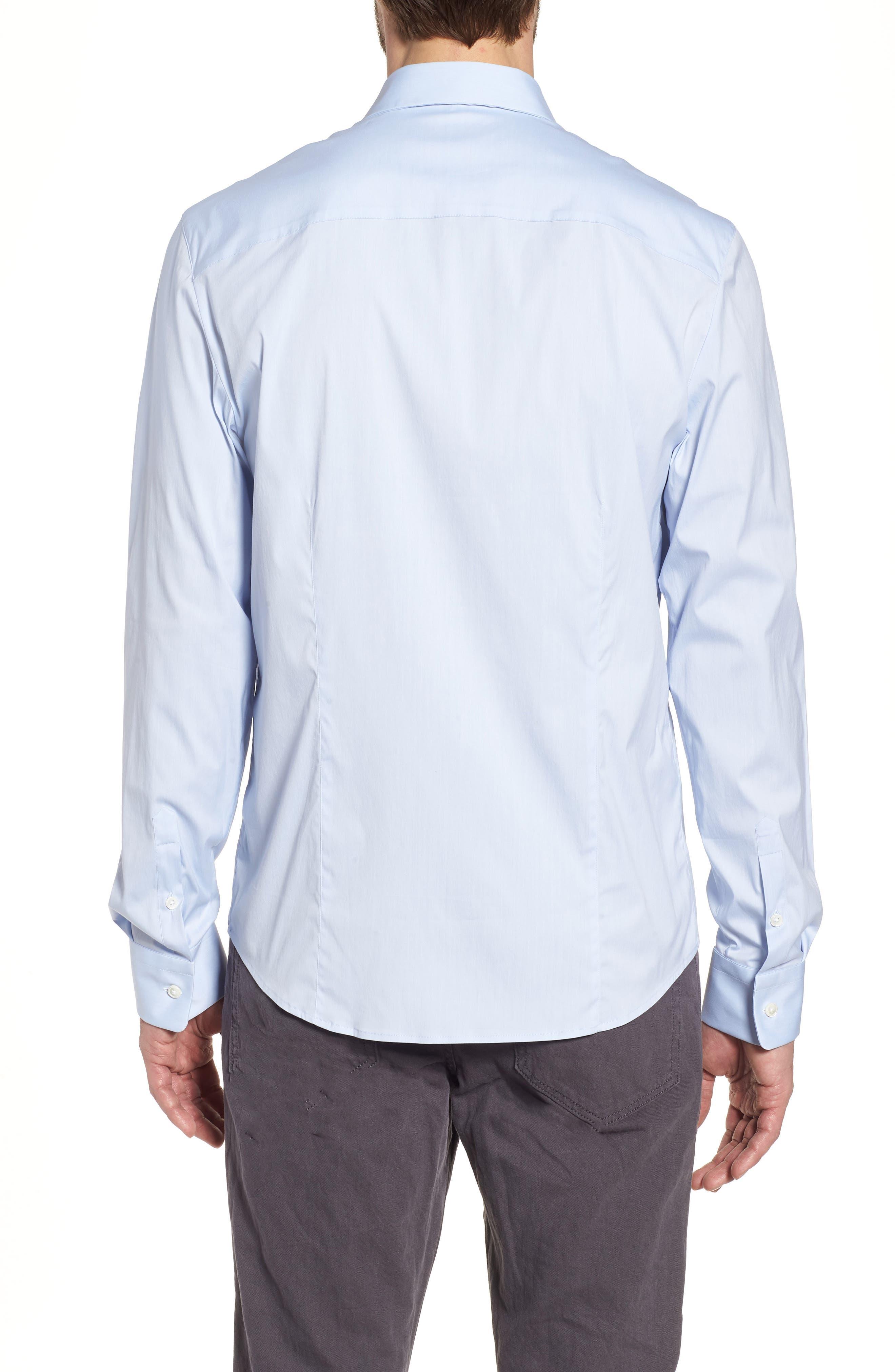 Matte Stretch Poplin Sport Shirt,                             Alternate thumbnail 2, color,                             Blue